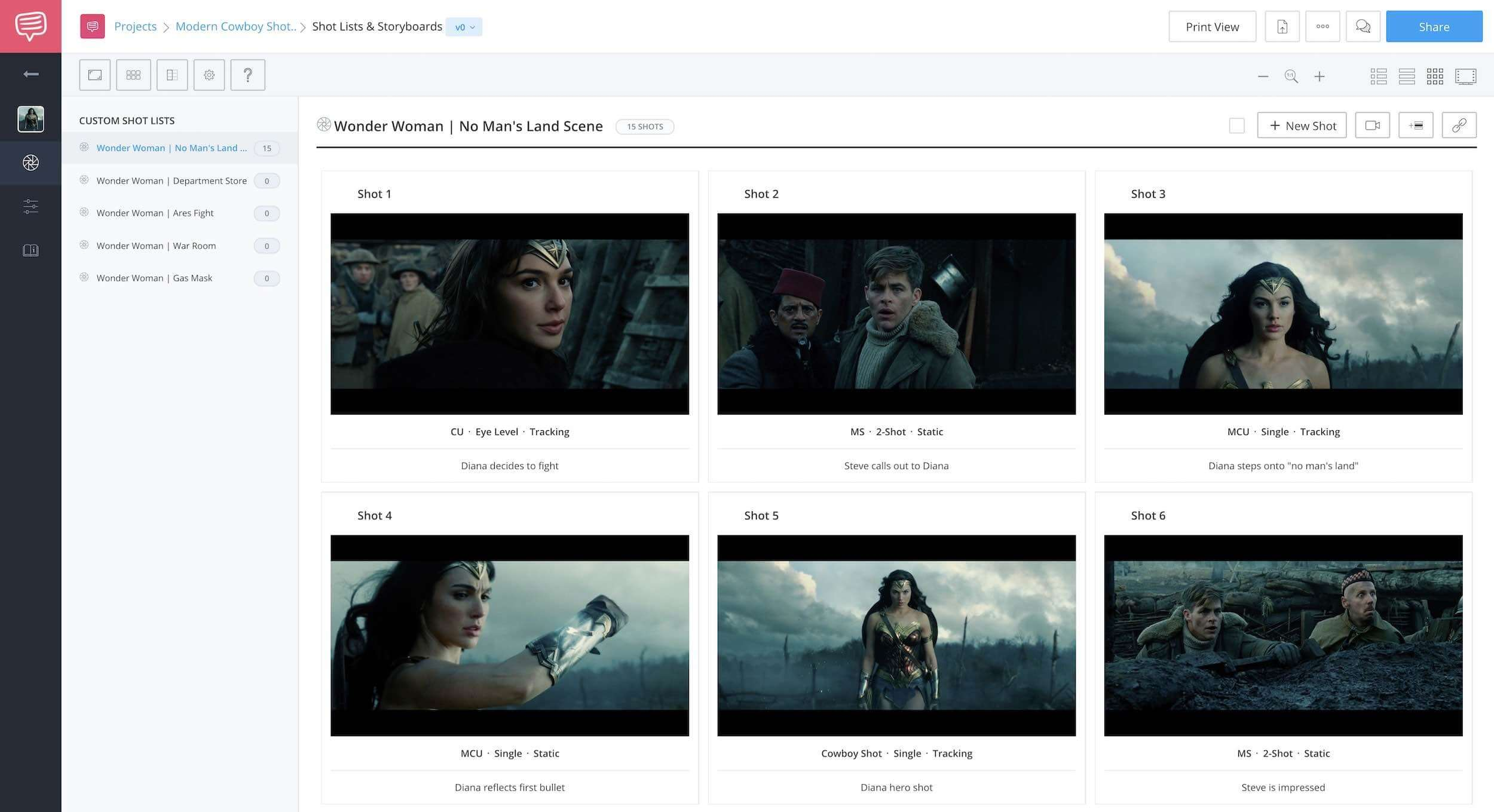 wonder woman - storyboard - studiobinder