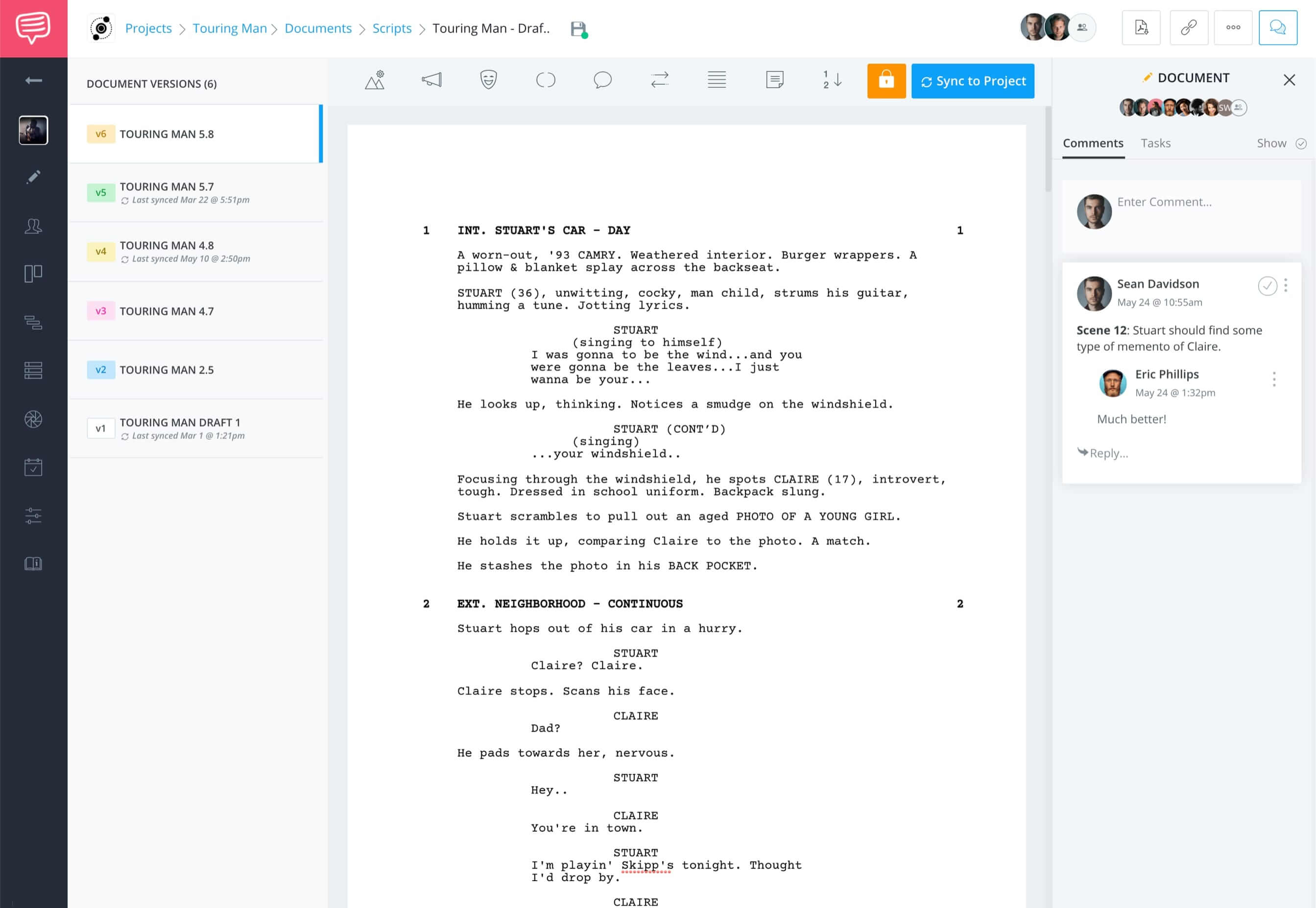 StudioBinder Free Screenwriting Software for Filmmakers - Add Comments