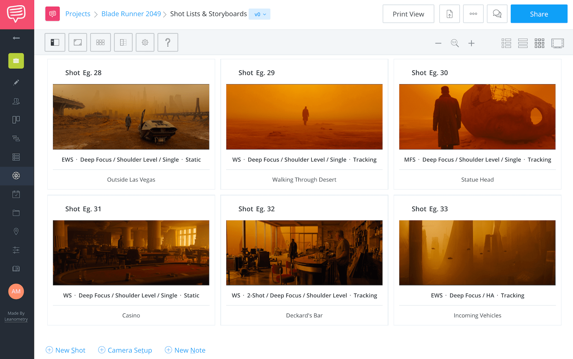 Villeneuve Blade Runner Shot List