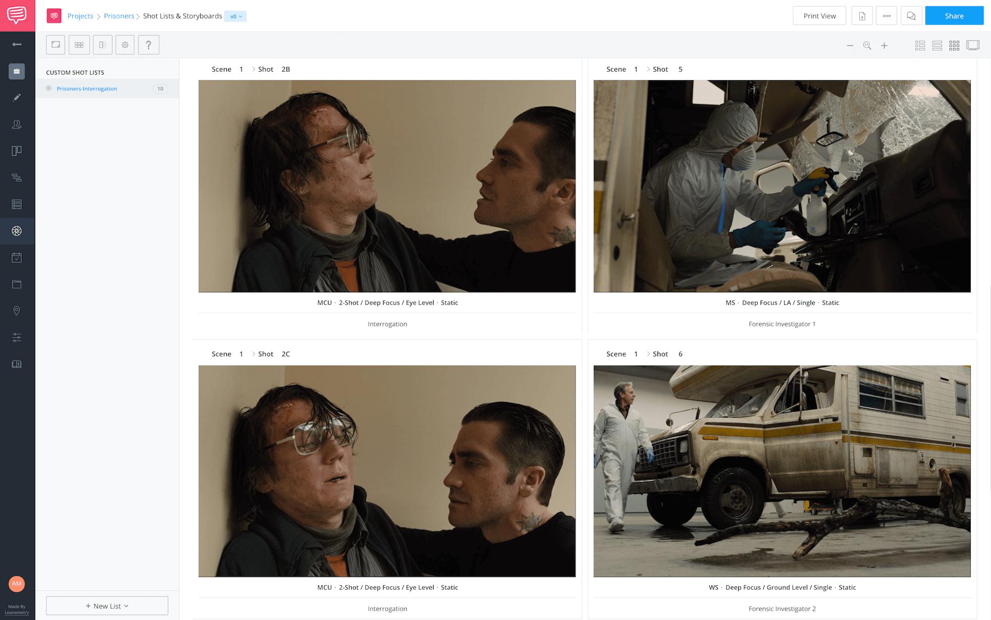 Villeneuve Prisoners Shot List