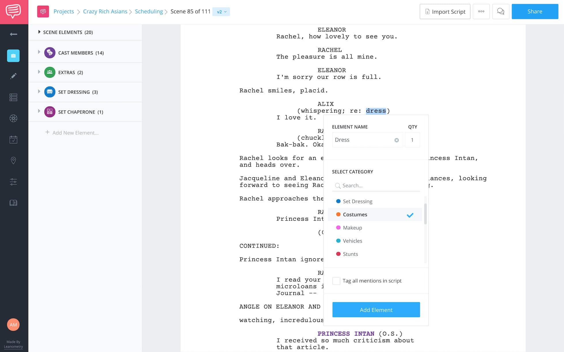 Breaking Down the Wedding Scene from Crazy Rich Asians - Tagging Wardrobe - StudioBinder Script Breakdown Software