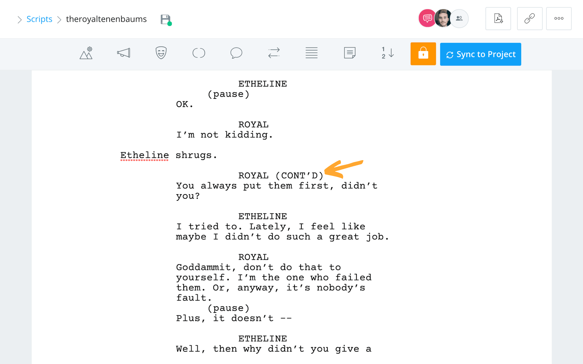 Formatting a Screenplay - Screenplay Format - The Royal Tenenbaums - Dialogue - StudioBinder Screenwriting Software