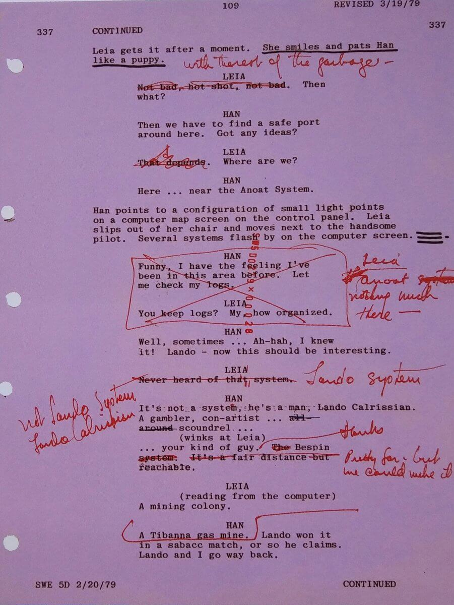 How to Add Script Notes in StudioBinder - Script Notes The Empire Strikes Back - StudioBinder Screenwriting Software