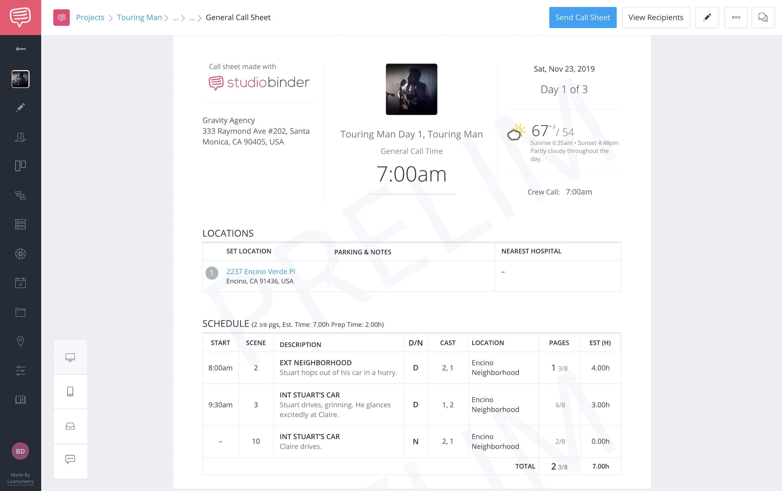 How to Renumber Scenes in StudioBinder - StudioBinder Call Sheet Template and App Software