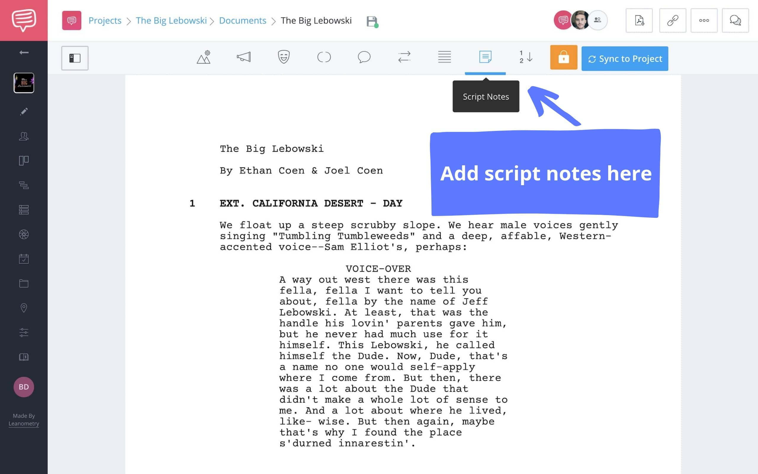 How to Write Script Notes in StudioBinder - StudioBinder Screenwriting Software