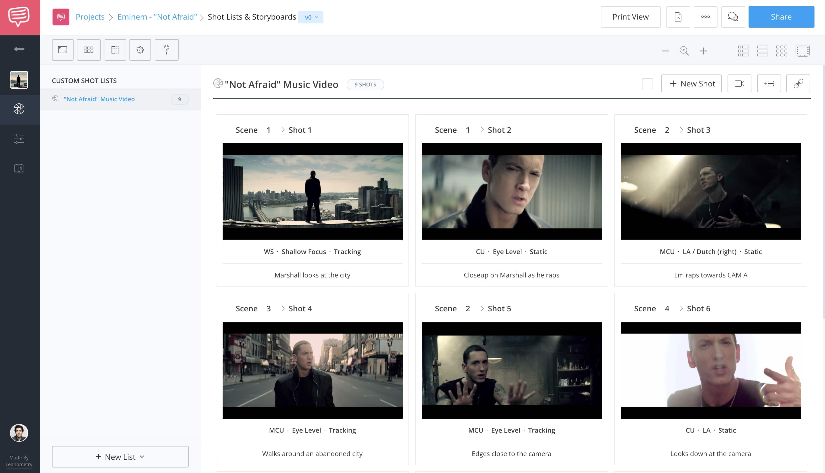 Music Video Storyboard Template - Eminem Not Afraid - StudioBinder