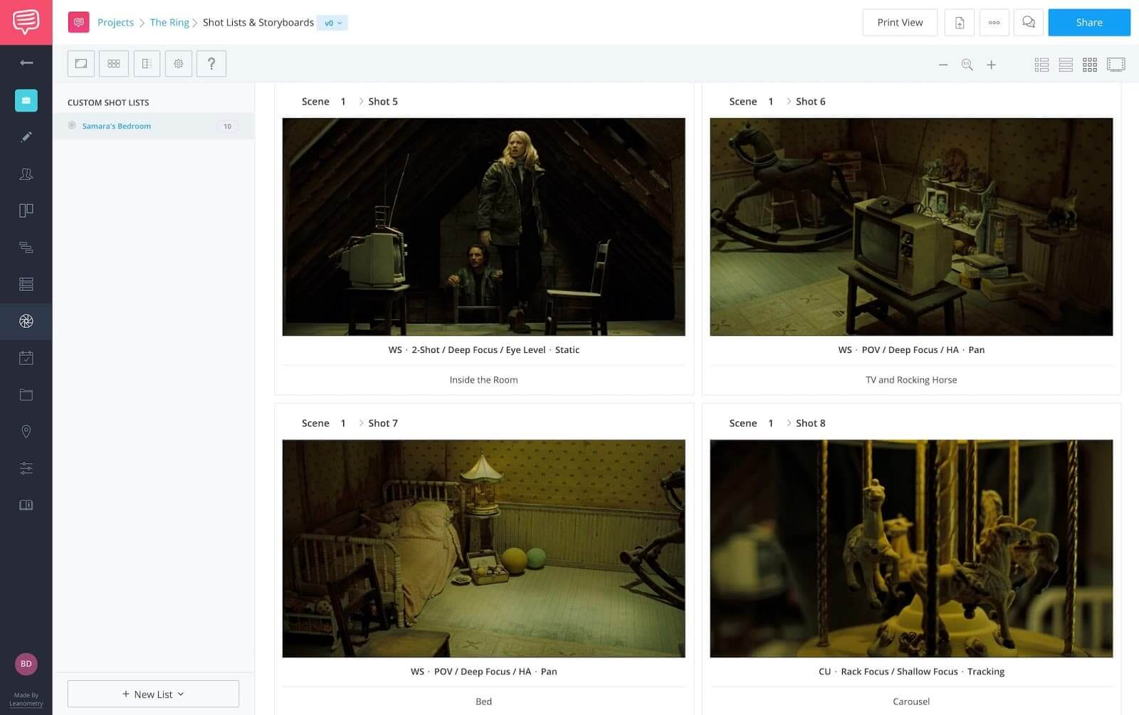 Elements of Suspense - Samara's Bedroom in The Ring - StudioBinder Storyboard Software and Template