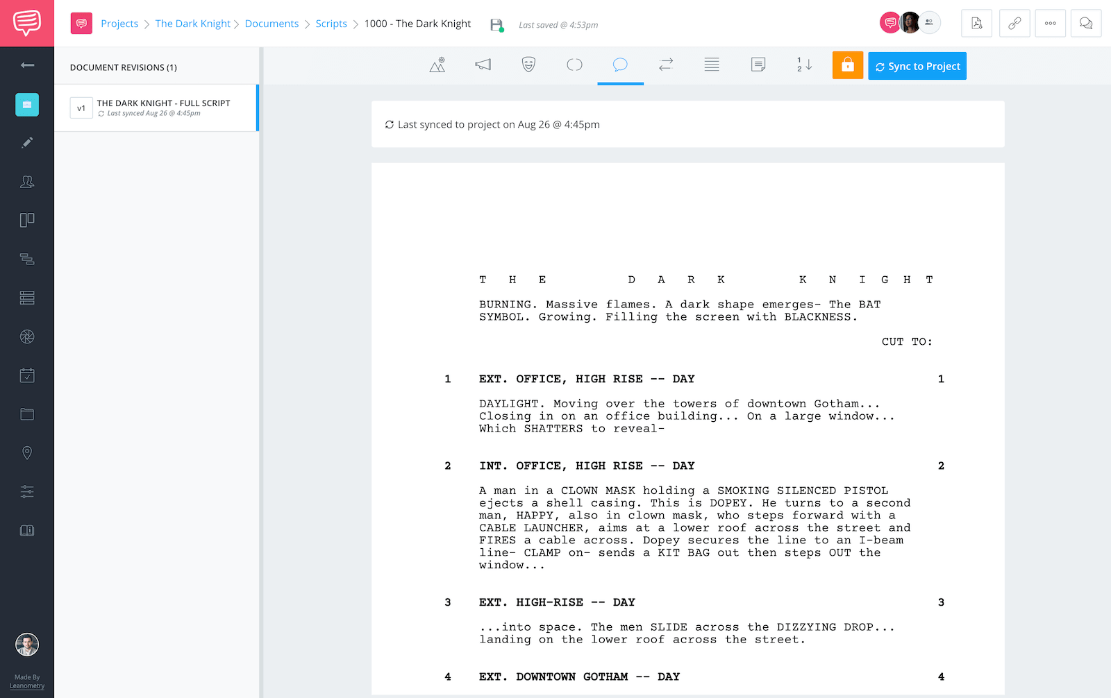 The Dark Knight Script Teardown - Full Script Screenshot - StudioBinder Screenwriting Software