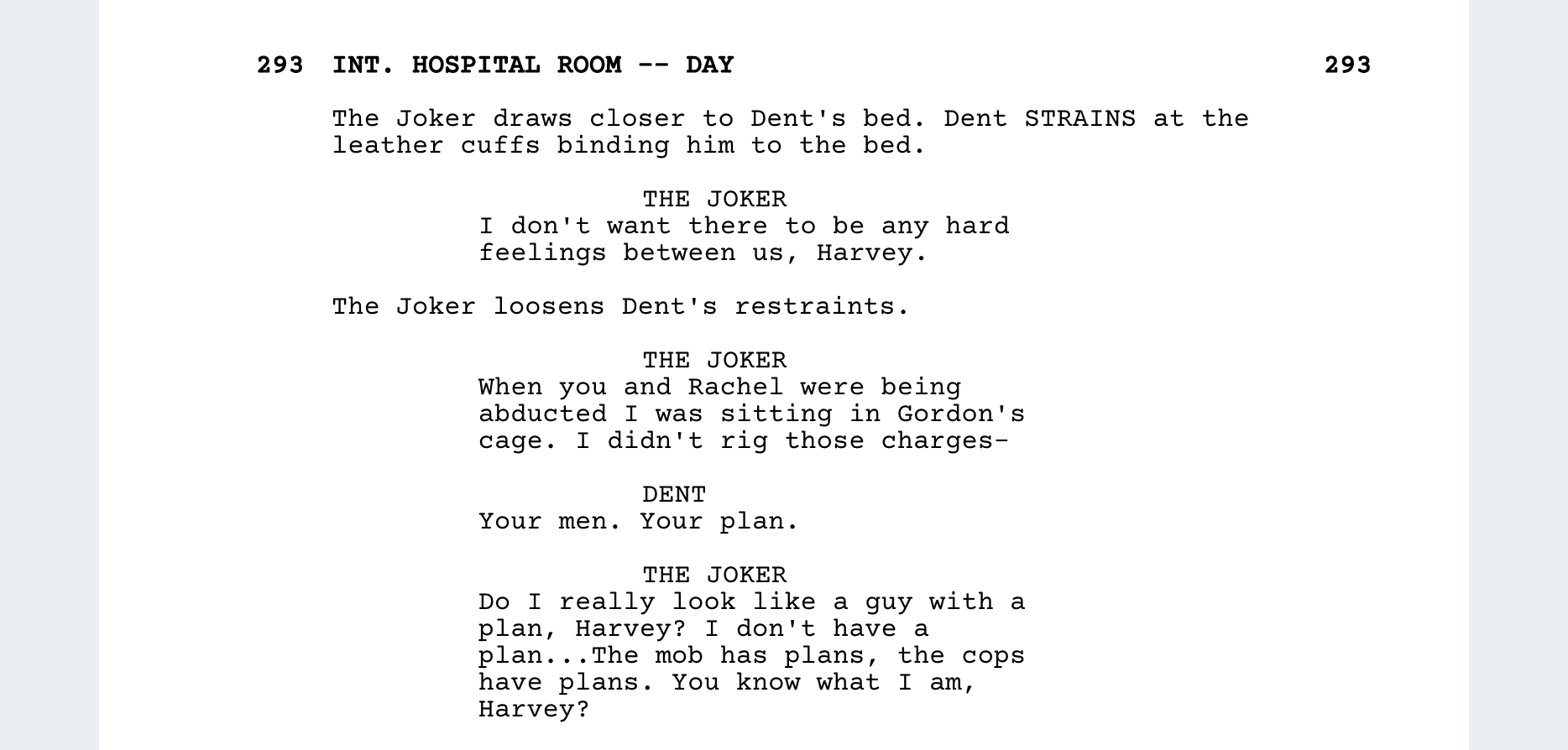 The Dark Knight Script Teardown - Hospital Scene #2 - StudioBinder Screenwriting Software