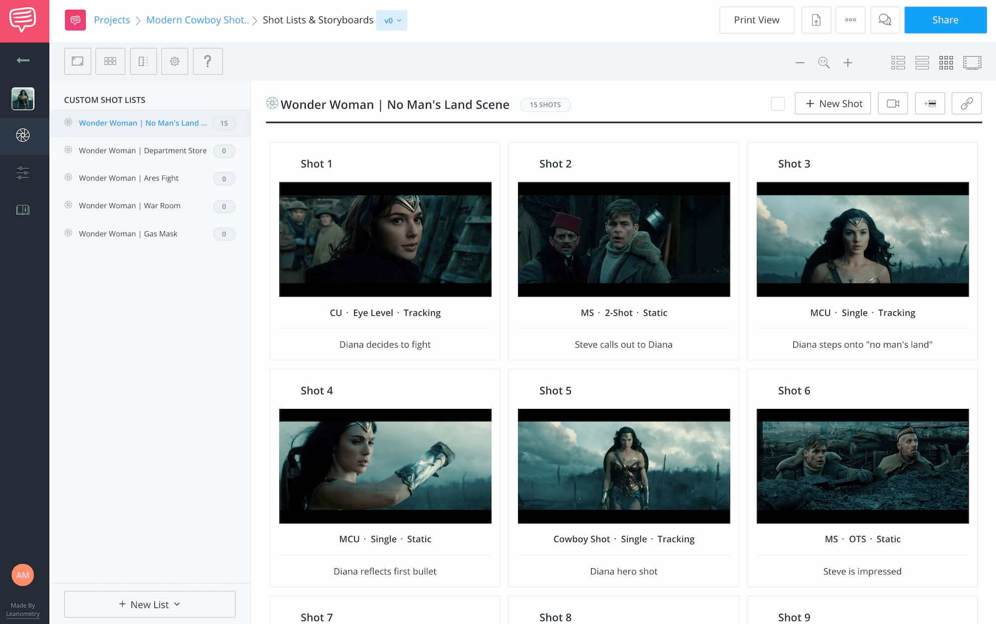 What is a Shot List - Wonder Woman - Shot List Example - StudioBinder Online Shot list and Storyboard Feature