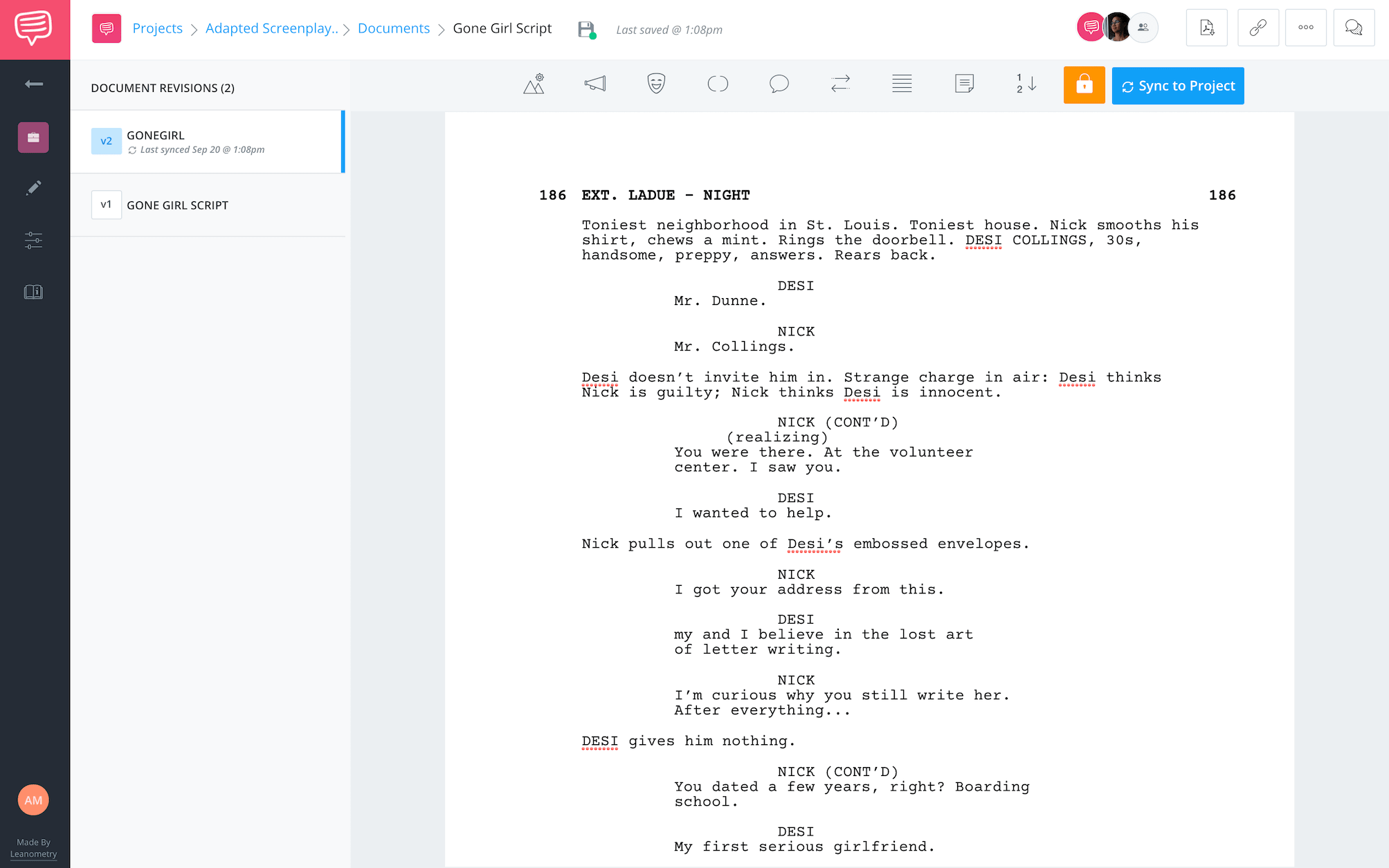 Adapted Screenplay - Gone Girl - StudioBinder Screenwriting Software