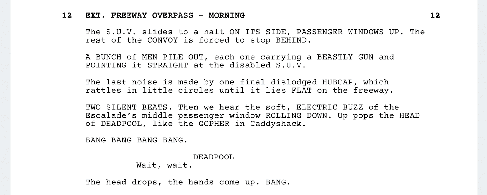 Deadpool Script Teardown - Bridge Scene - StudioBinder