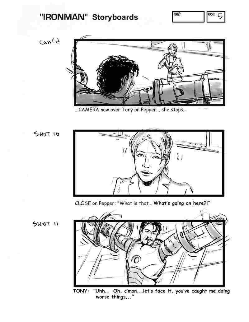 Storyboard Example - Ironman Storyboard - David Duncan - StudioBinder