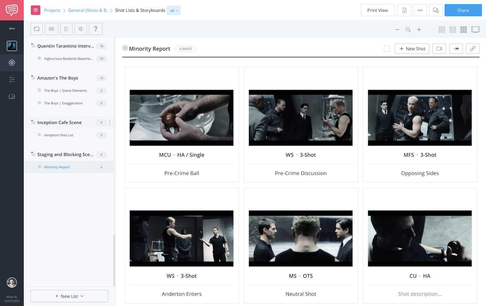 Blocking and Staging Scenes - Minority Report Shot List - StudioBinder
