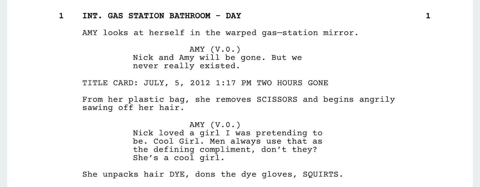 Gone Girl Script Teardown - Cool Girl Scene - StudioBinder