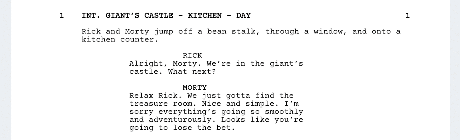 Rick and Morty Script - Gian't Lair - StudioBinder