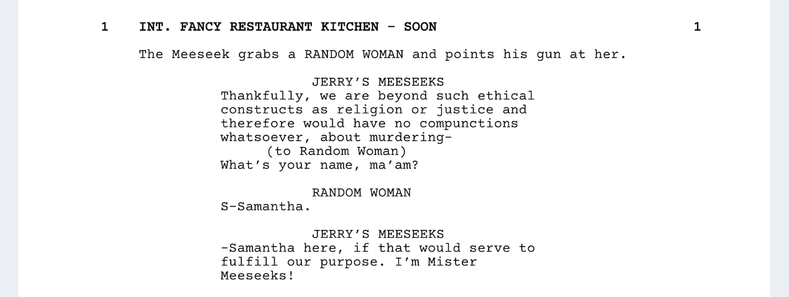 Rick and Morty Script - Restaurant Scene - StudioBinder