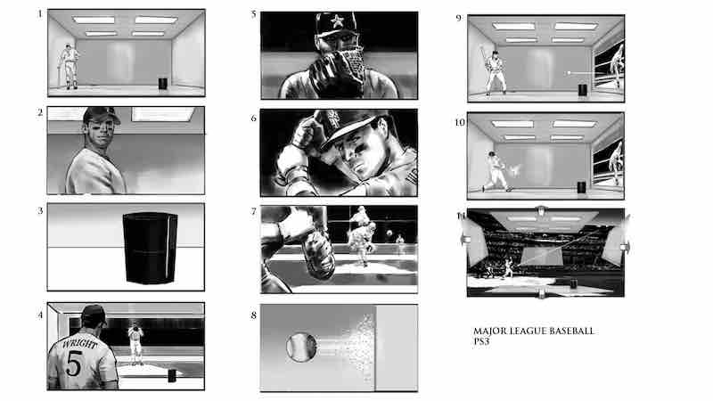 Storyboard Examples - MLB PS3 - Dwayne Turner - StudioBinder-min