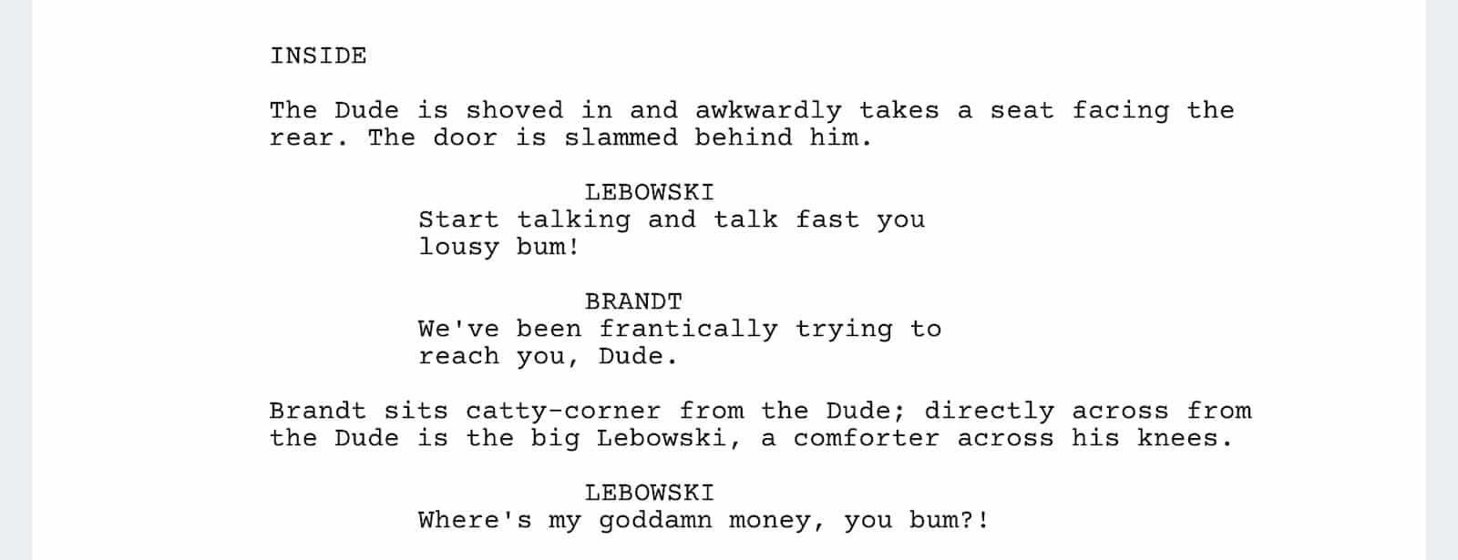 The Big Lebowski Script - Another Toe Scene - StudioBinder
