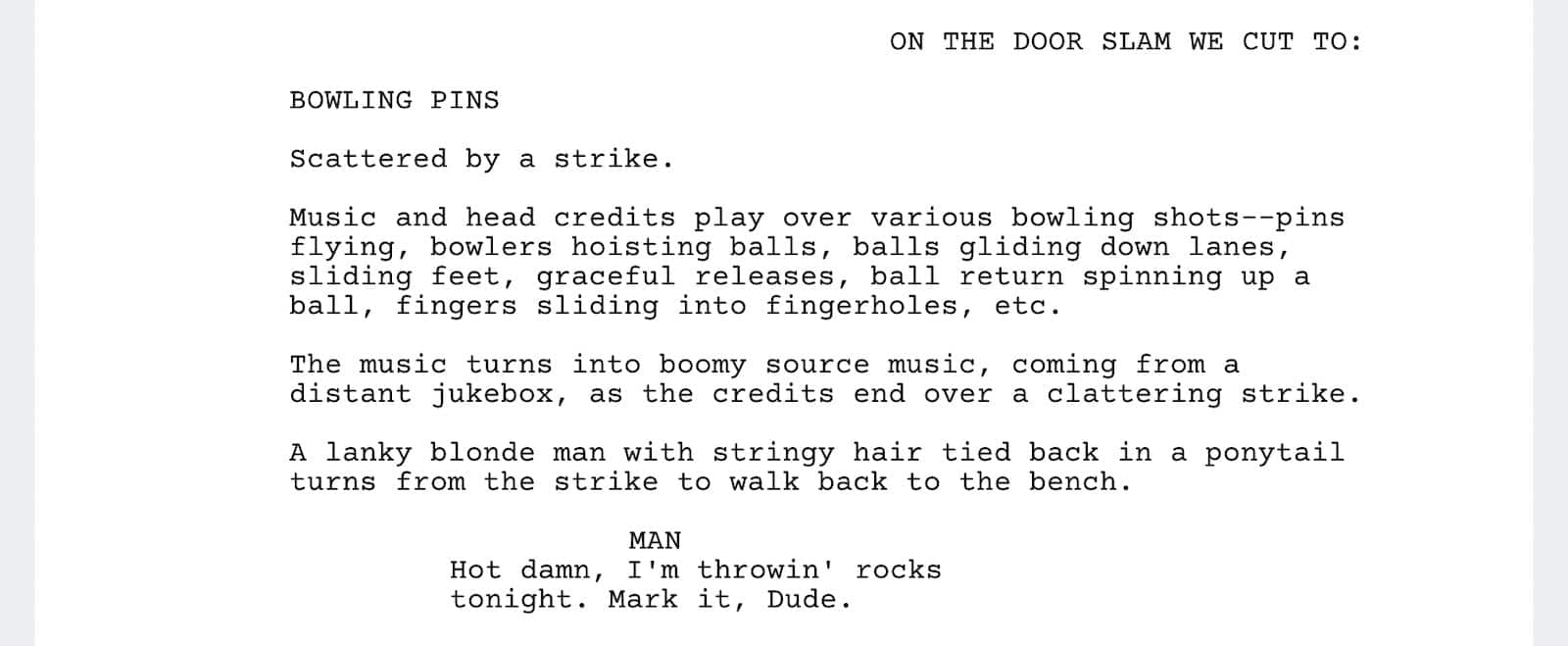 The Big Lebowski Script - First Bowling Scene - StudioBinder