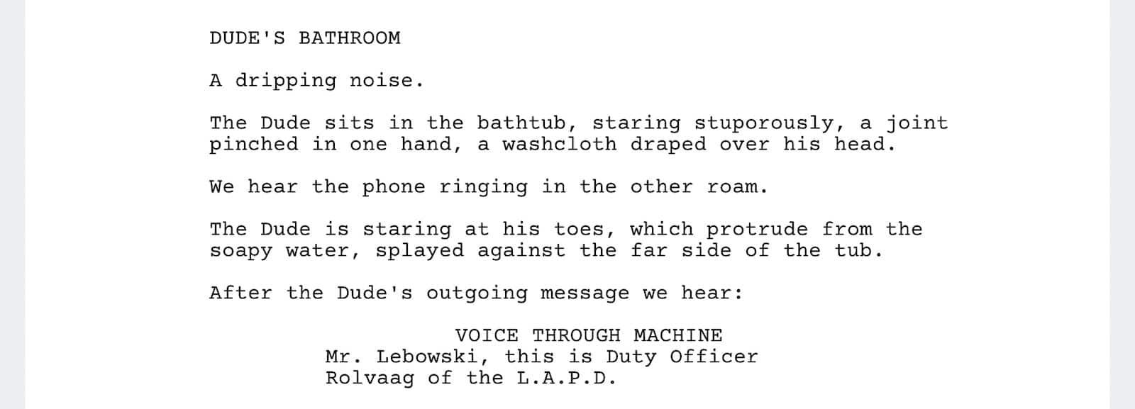 The Big Lebowski Script - Marmot Scene - StudioBinder