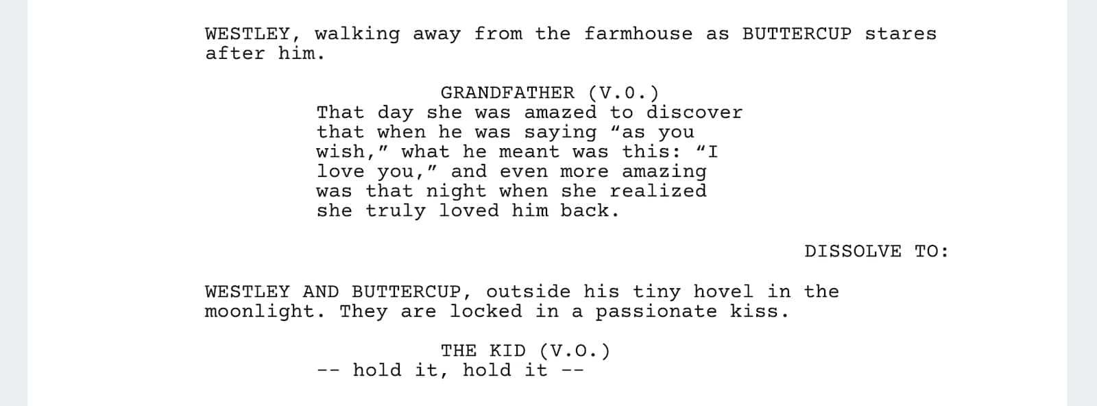 The Princess Bride Script - As You Wish - StudioBinder