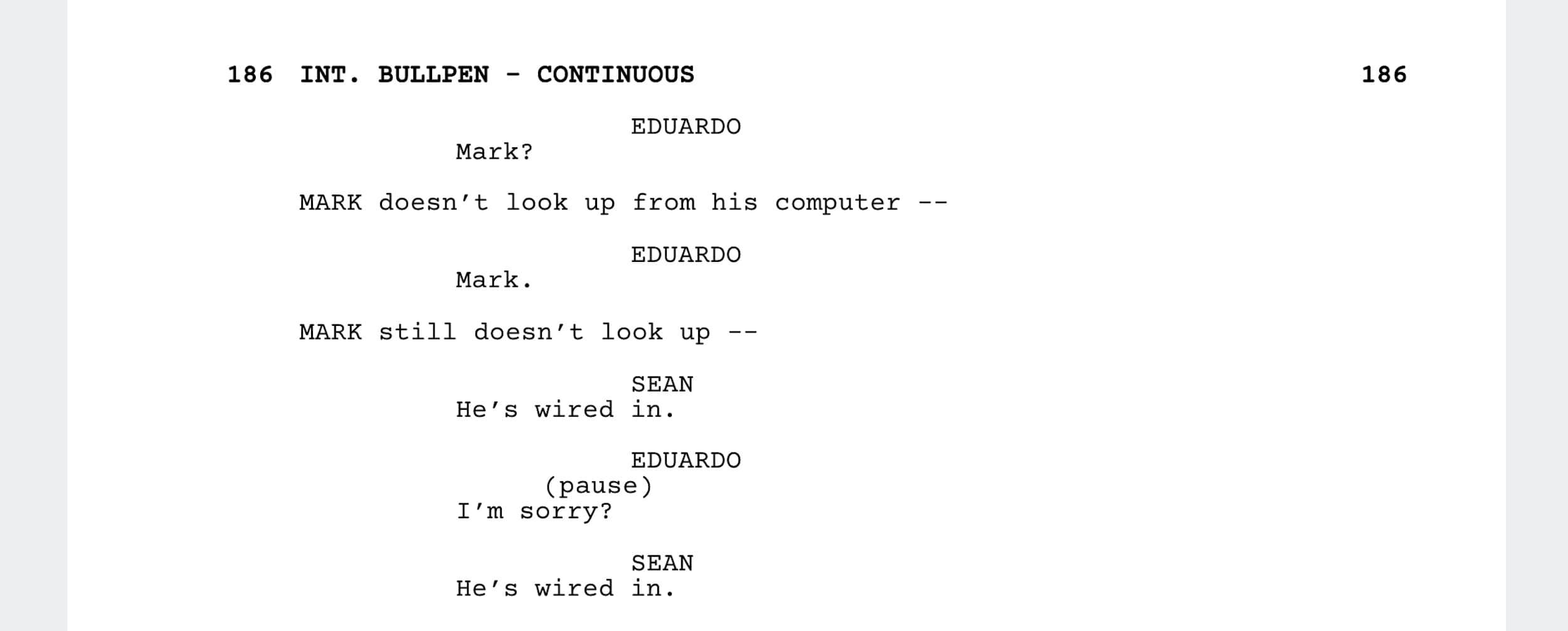 The Social Network Script - Confrontation Scene - StudioBinder - Screenwriting Software