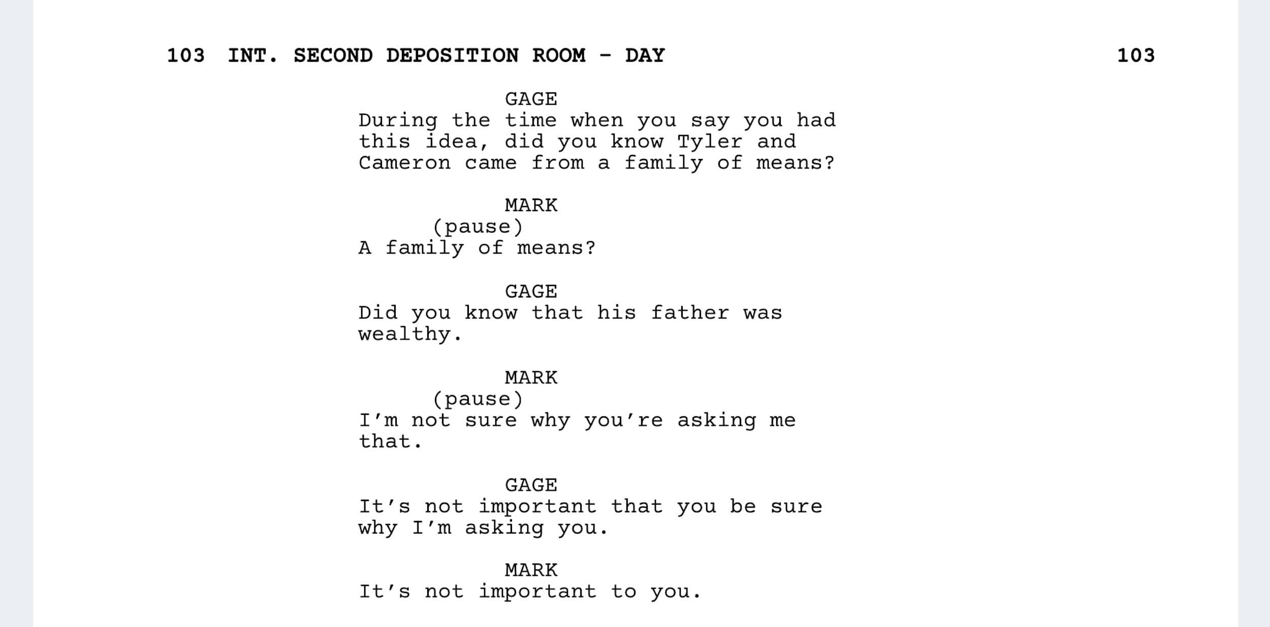 The Social Network Script - Deposition Scene - StudioBinder - Screenwriting Software
