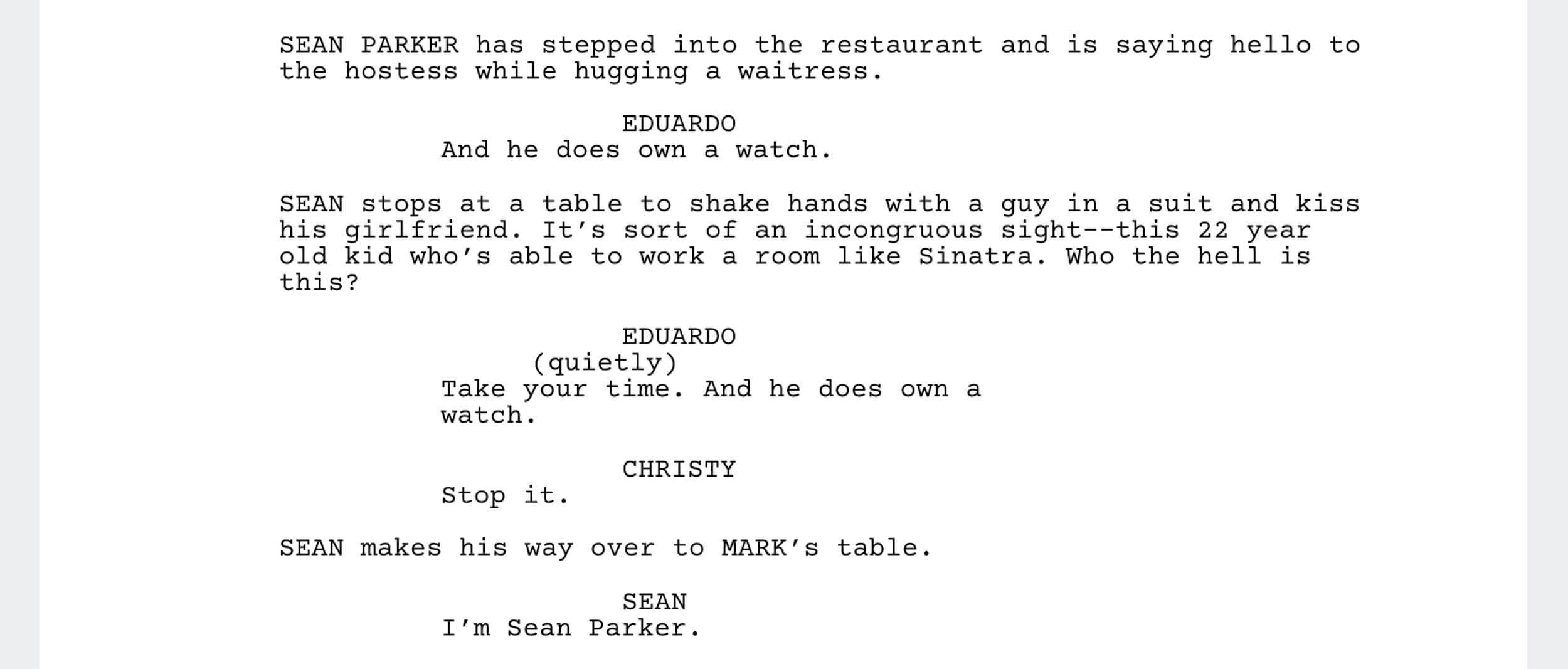 The Social Network Script - Meet Sean Parker Scene - StudioBinder - Screenwriting Software
