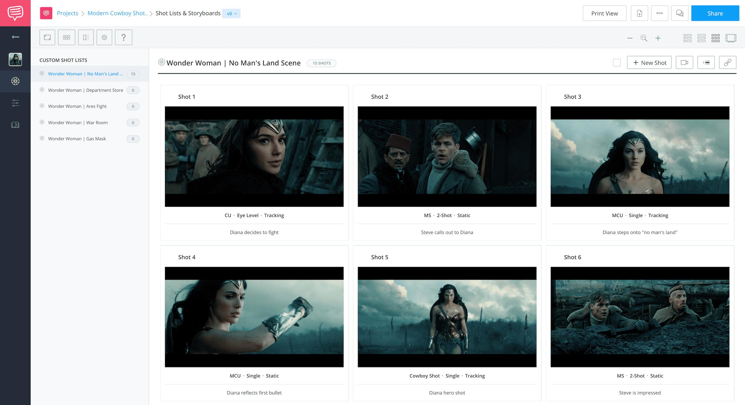 Amazon Storywriter Alternative - Wonder Woman Storyboard - StudioBinder