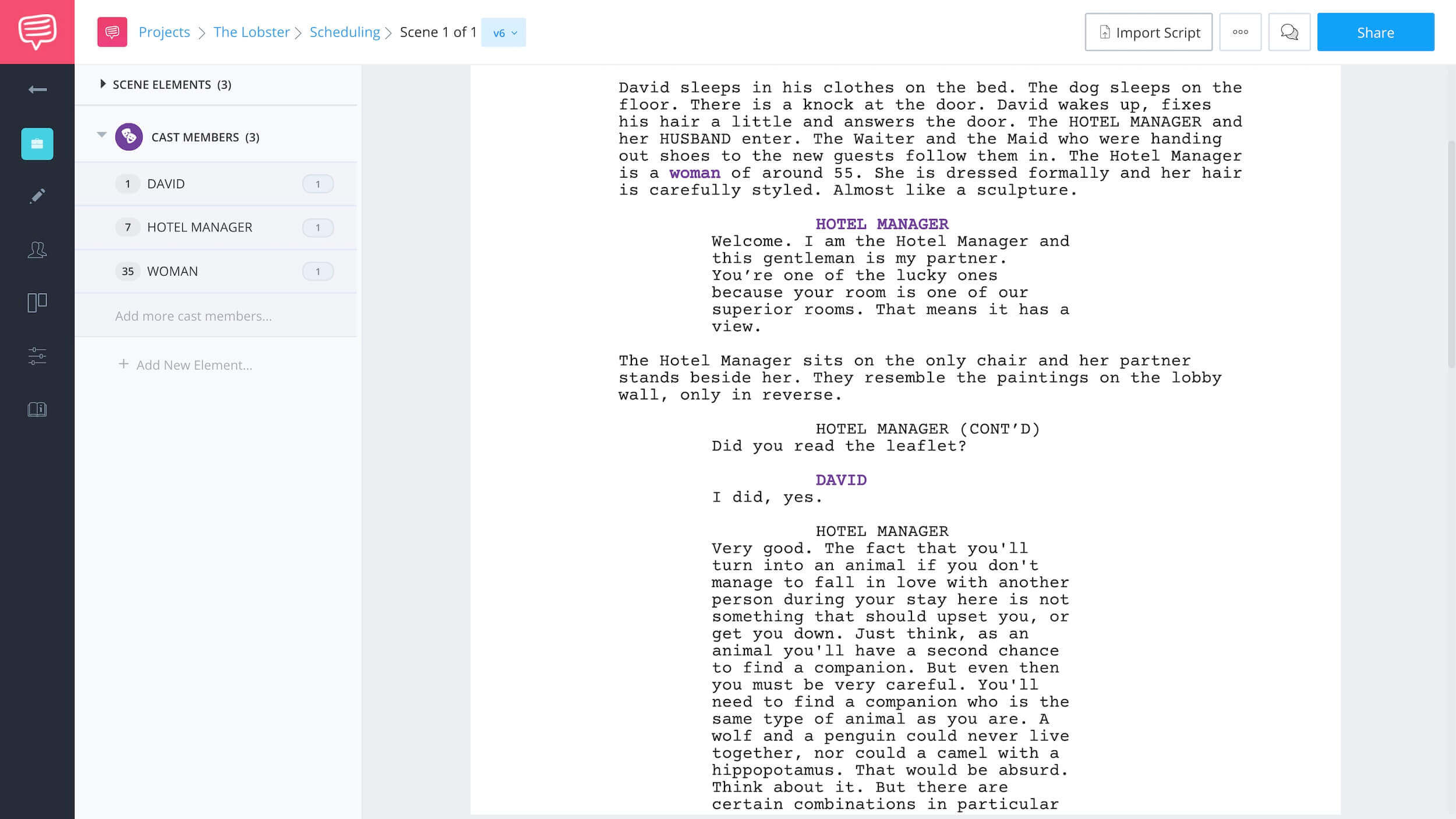Finding Character Using Script Breakdown - Lobster Example 1 - StudioBinder