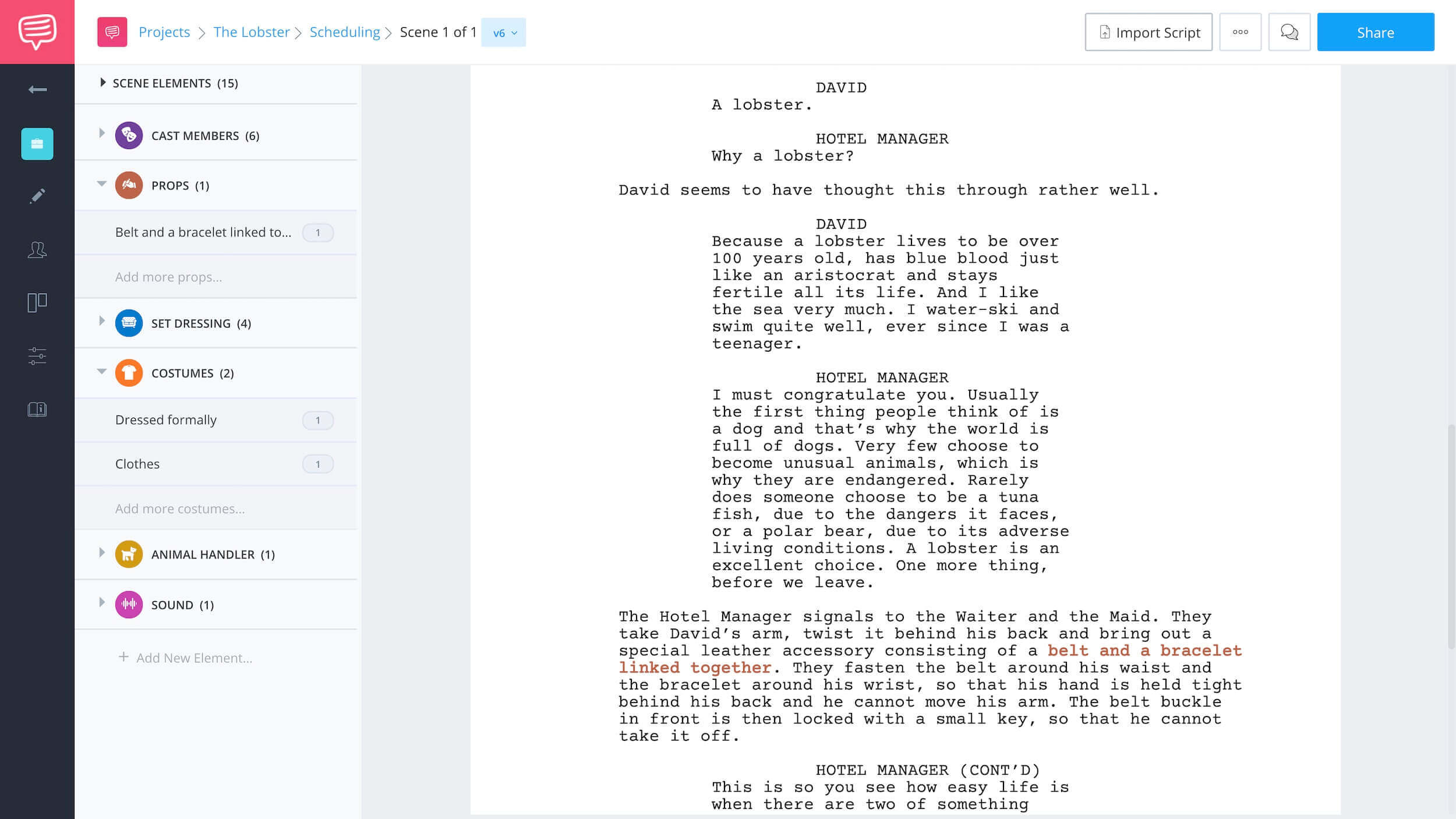 Finding Character Using Script Breakdown - Lobster Example 3 - StudioBinder