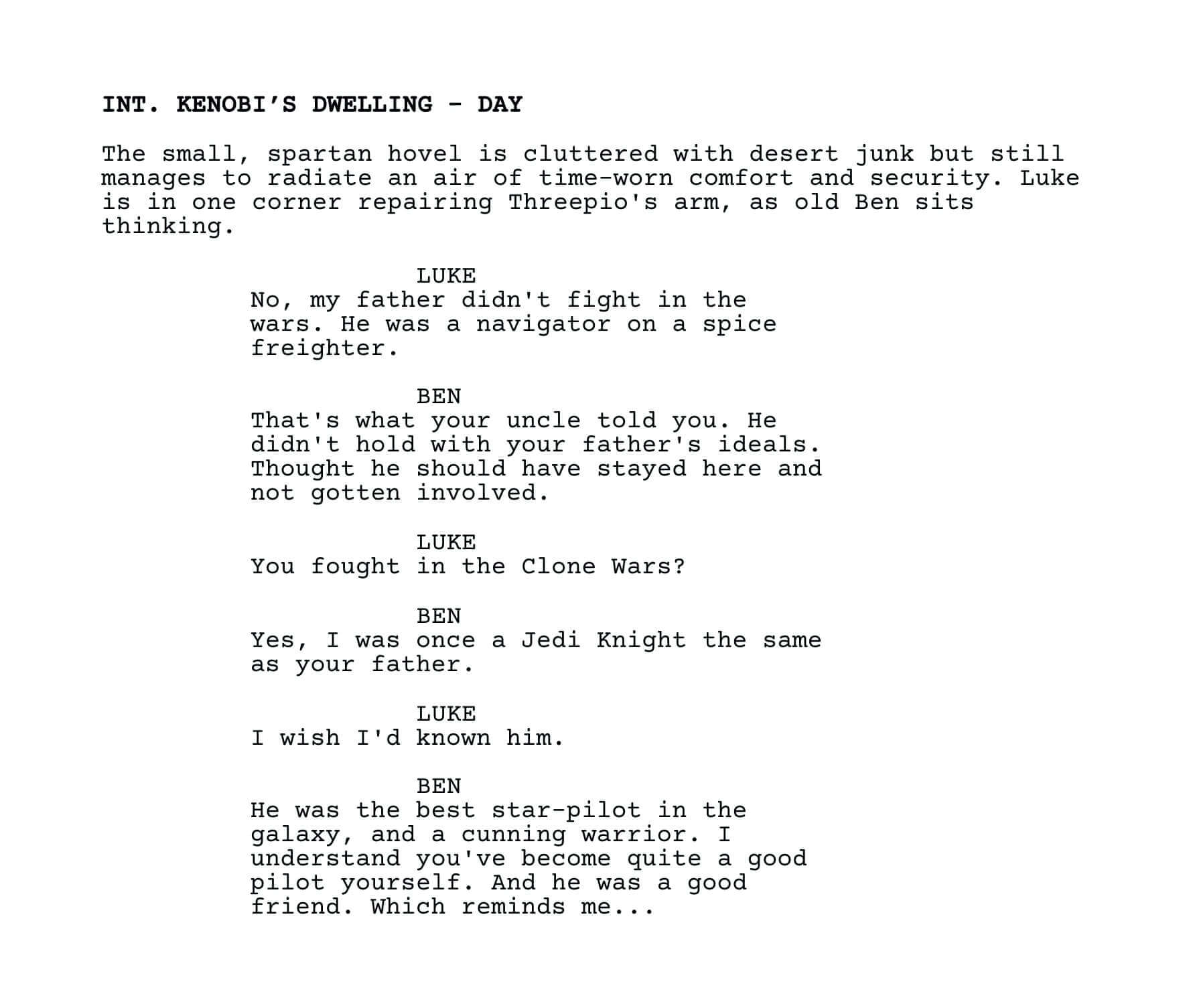 Star Wars A New Hope Script Screenplay Analysis And Pdf Download