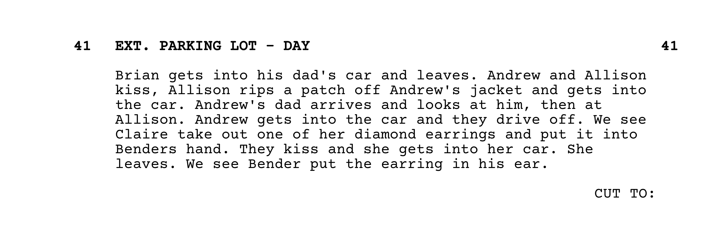 The Breakfast Club Script Screenplay - Ending - StudioBinder