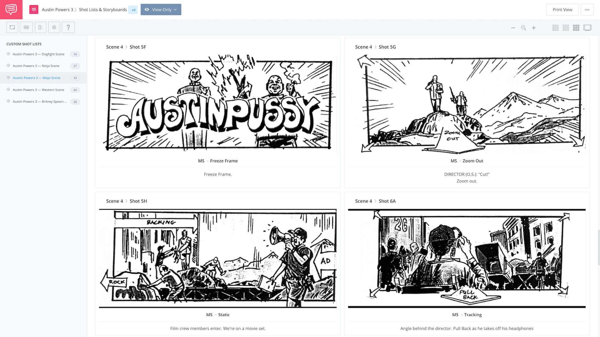 Austin Powers 3 - Movie Within a Movie Director Scene App Tie-In - StudioBinder