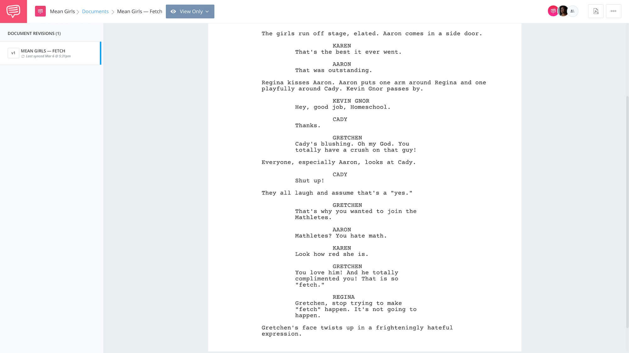 Mean Girls Script Teardown - Fetch App Tie-In - StudioBinder