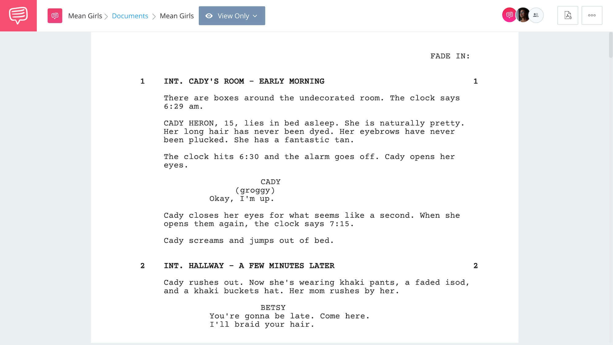 Mean Girls Script Teardown - Full Script App Tie-In - StudioBinder