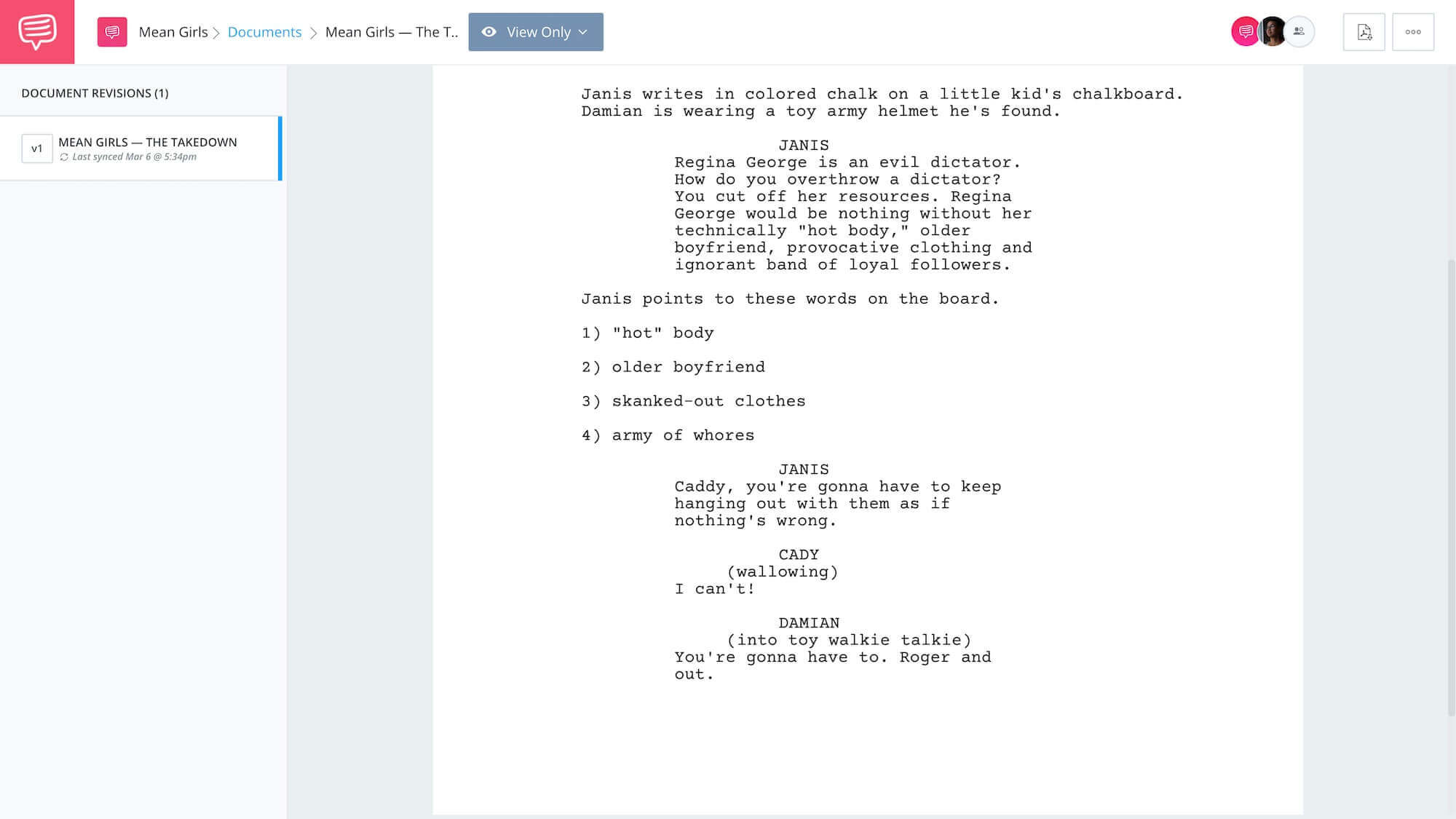 Mean Girls Script Teardown - Takedown Plan App Tie-In - StudioBinder
