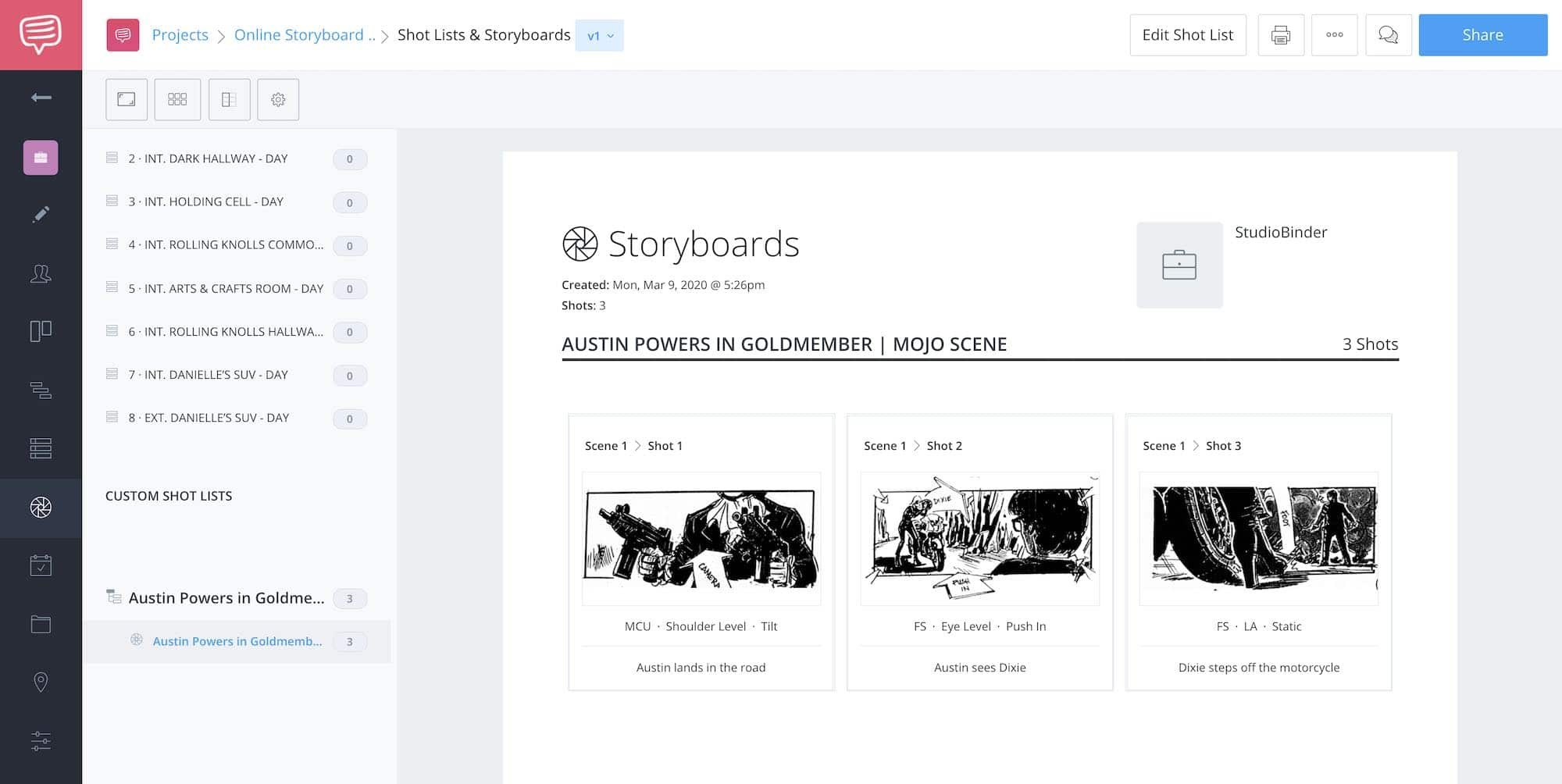 Storyboard Creator Steps - Austin Powers Goldmember - StudioBinder - 18