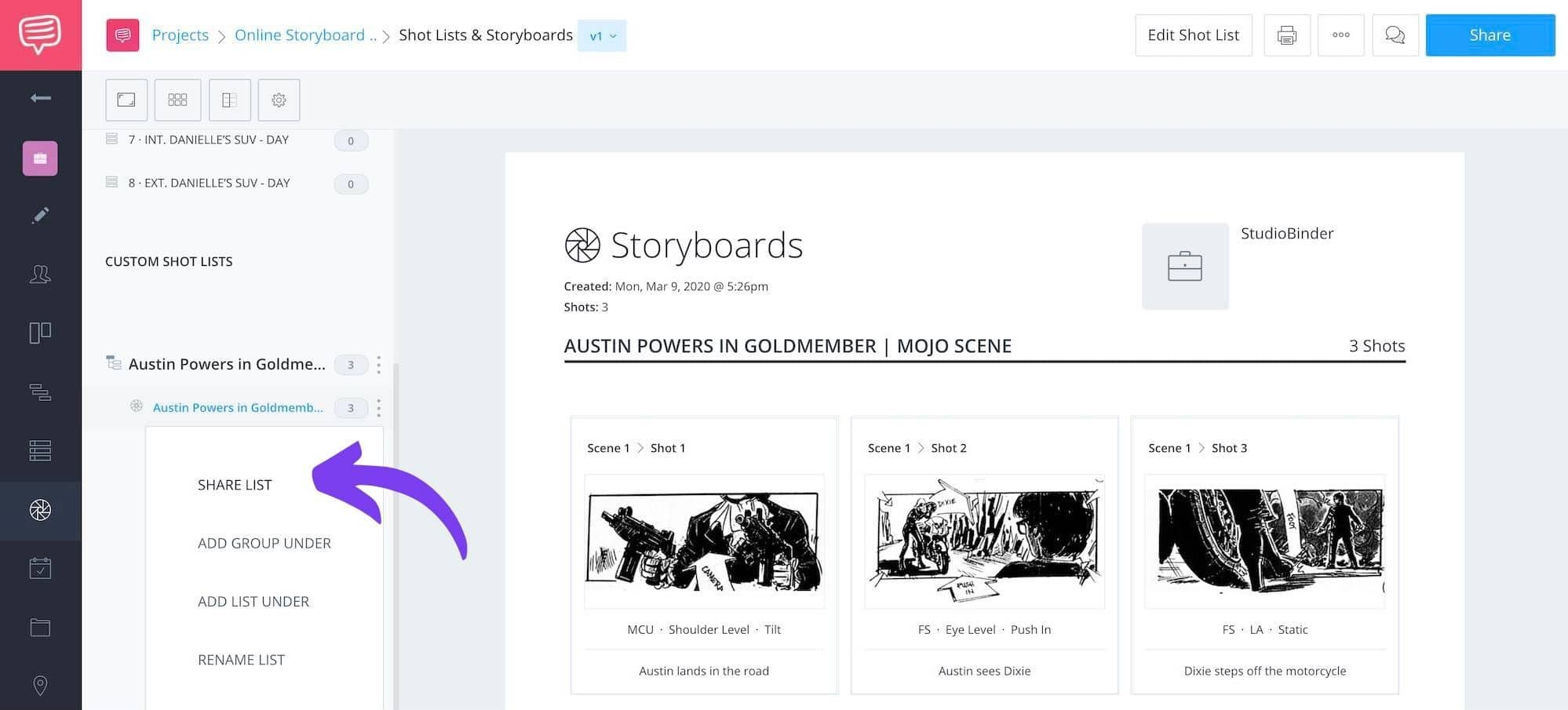 Storyboard Creator Steps - Austin Powers Goldmember - StudioBinder - 19