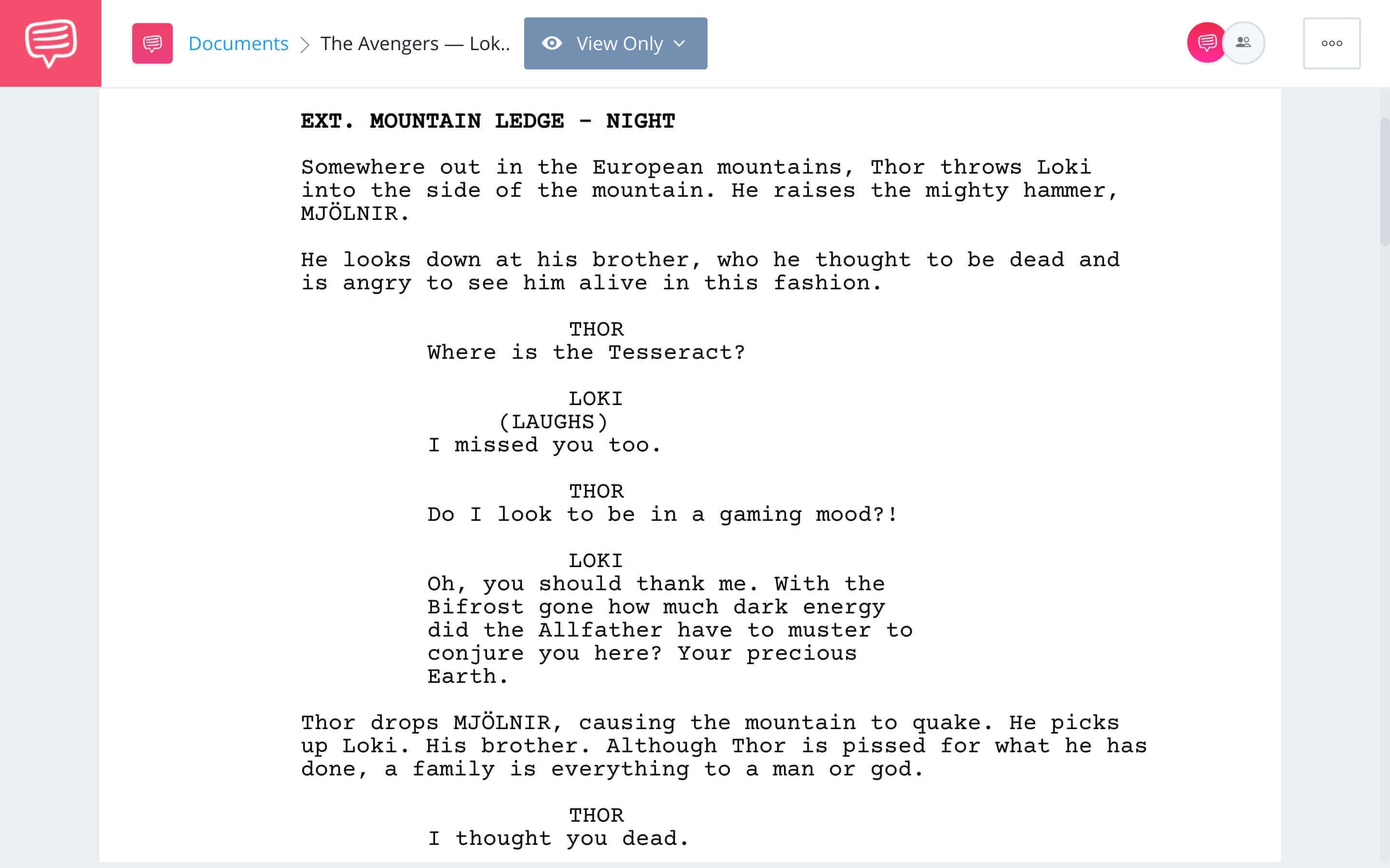 The Avengers Script Teardown - Loki and Thor Fight Scene Download App Tie-In - StudioBinder