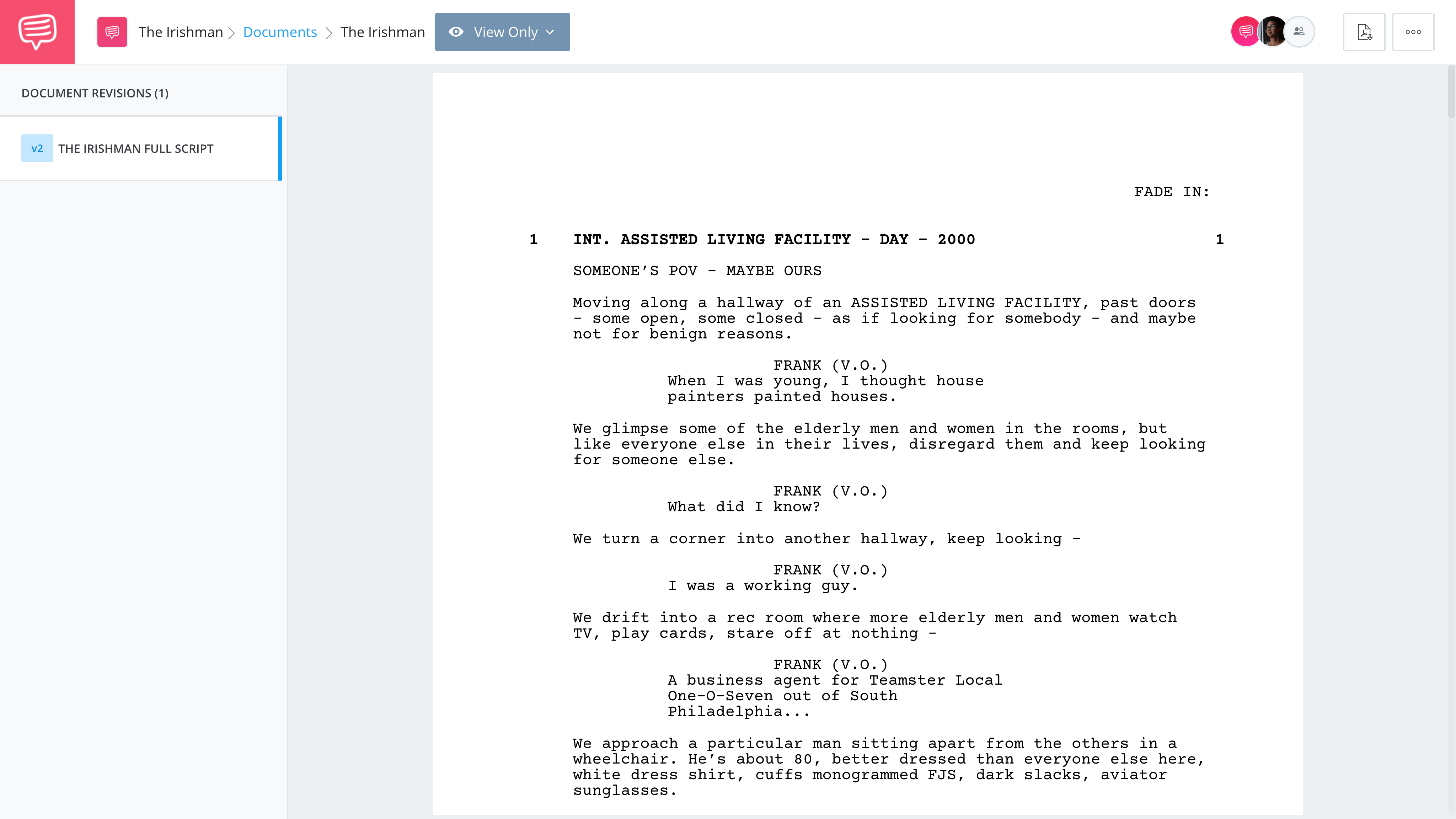 The Irishman Script PDF Download - Plot, Characters Quotes, and Ending - View Script in StudioBinder Screenwriting Software1
