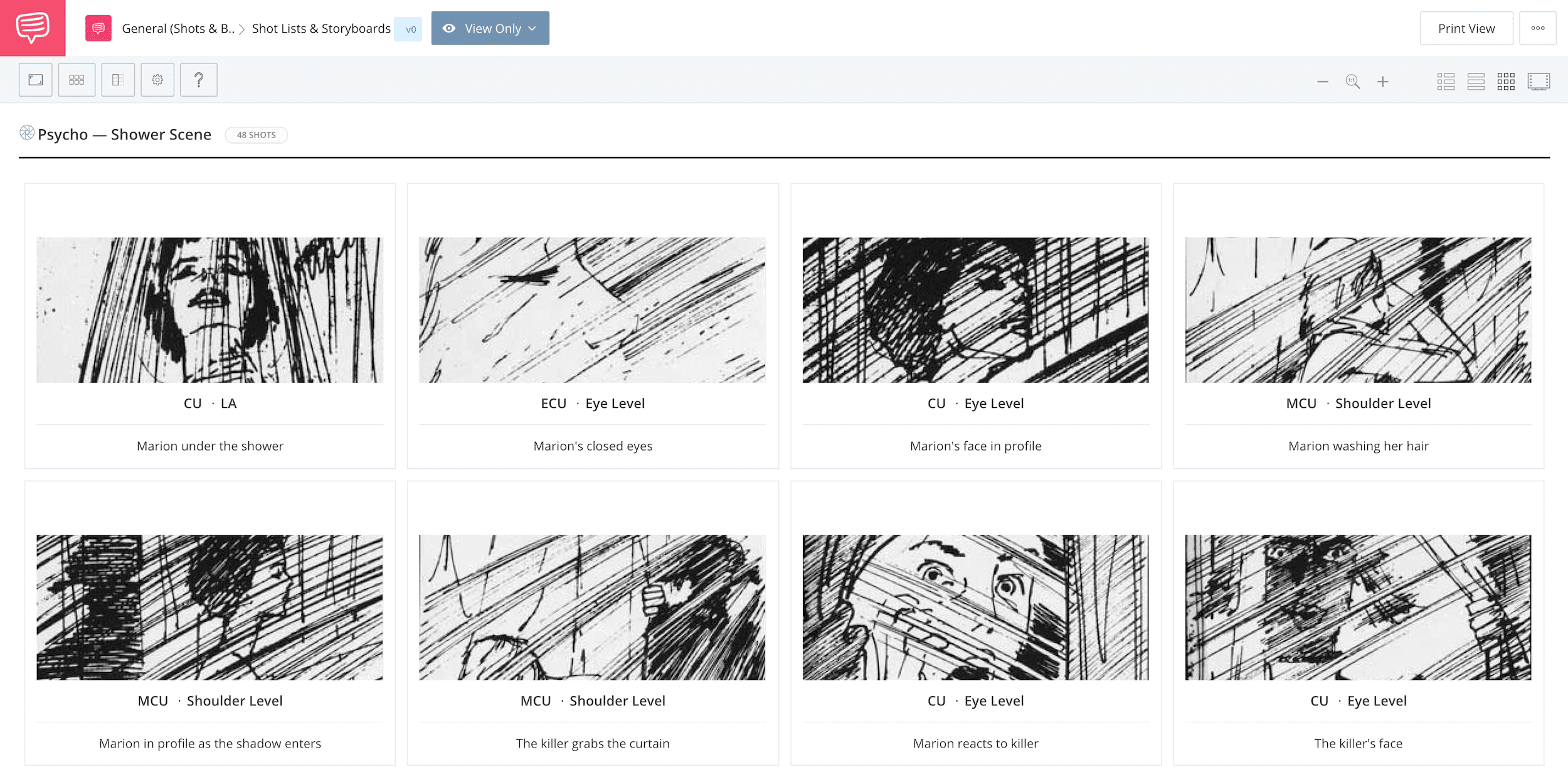 What is a Storyboard - Psycho - Shower Scene - StudioBinder Storyboard Software