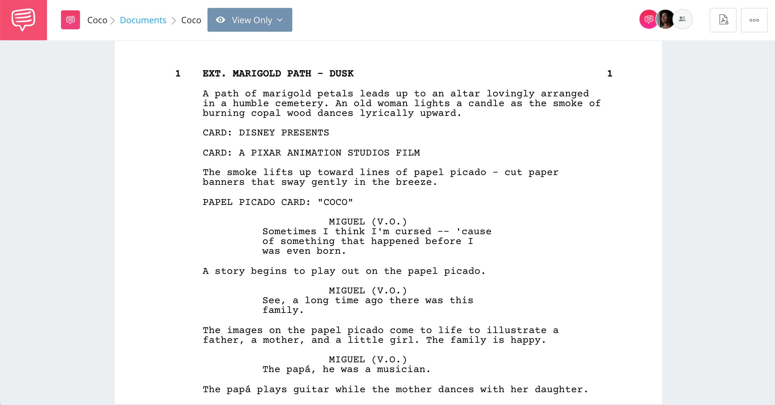 Coco Script Screenplay PDF Download - Full Coco Script - StudioBinder Screenwriting Software