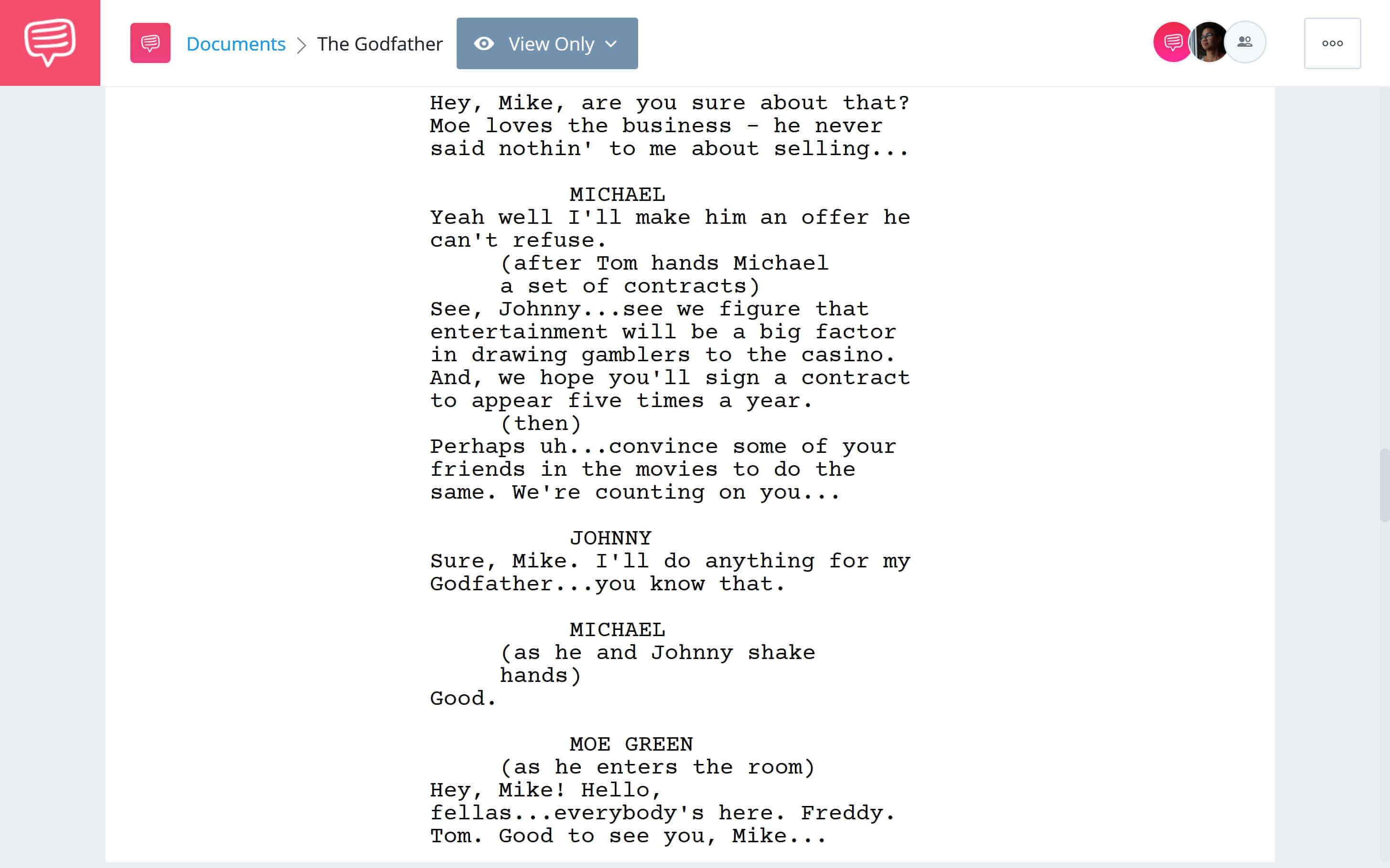 Godfather Script Teardown - Michaels An Offer He Can't Refuse Scene Download App Tie-In - StudioBinder