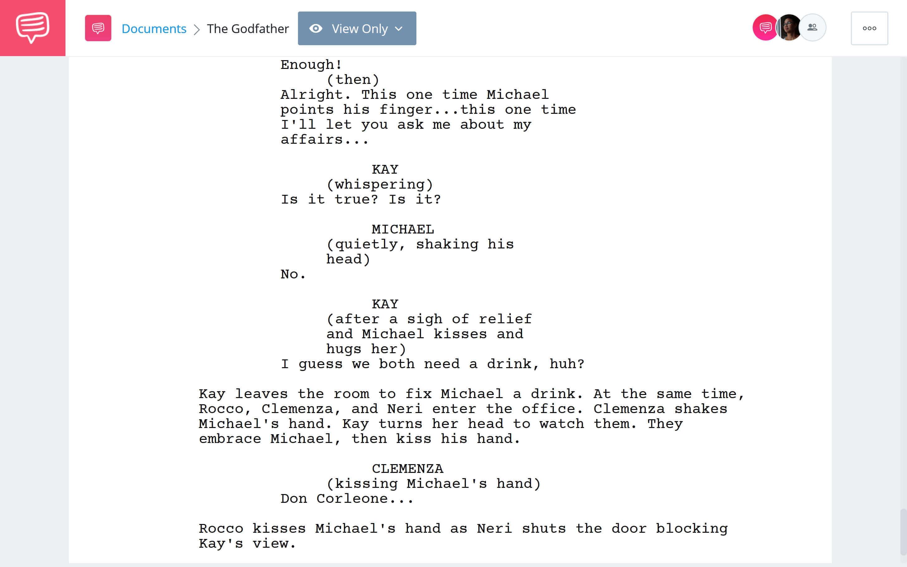Godfather Script Teardown - Michaels Ascent Scene Download App Tie-In - StudioBinder