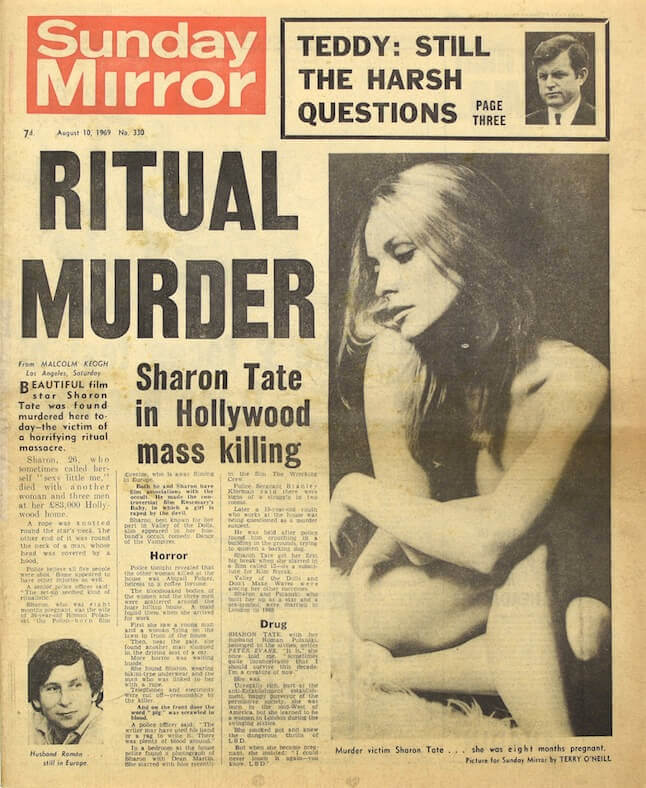 Writing Fiction Based on True Events - Once Upon a Time in Hollywood - Sharon Tate Murder Newspaper Clipping