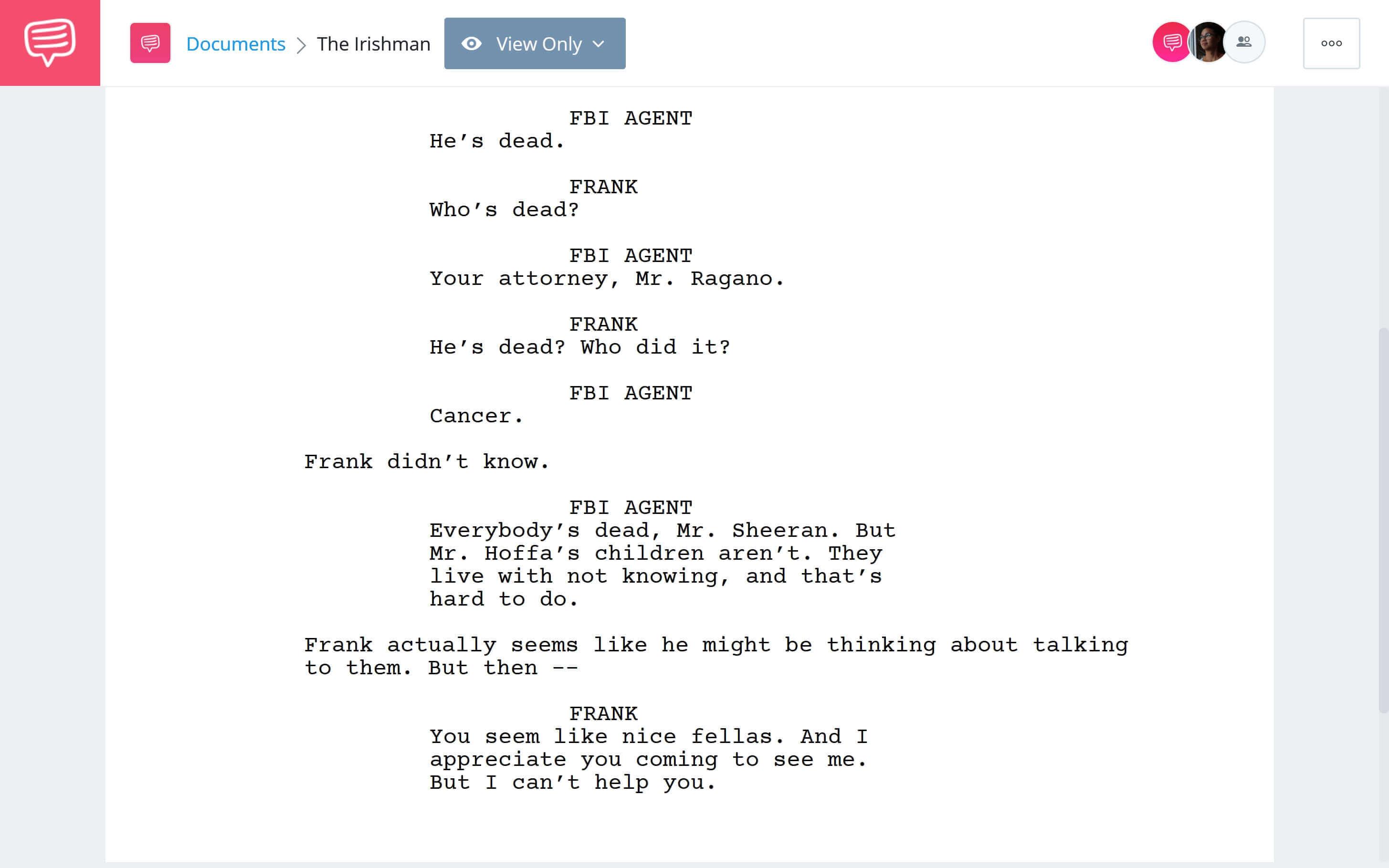Is Irishman Based on a True Story - All Alone Scene Download App Tie-In - StudioBinder
