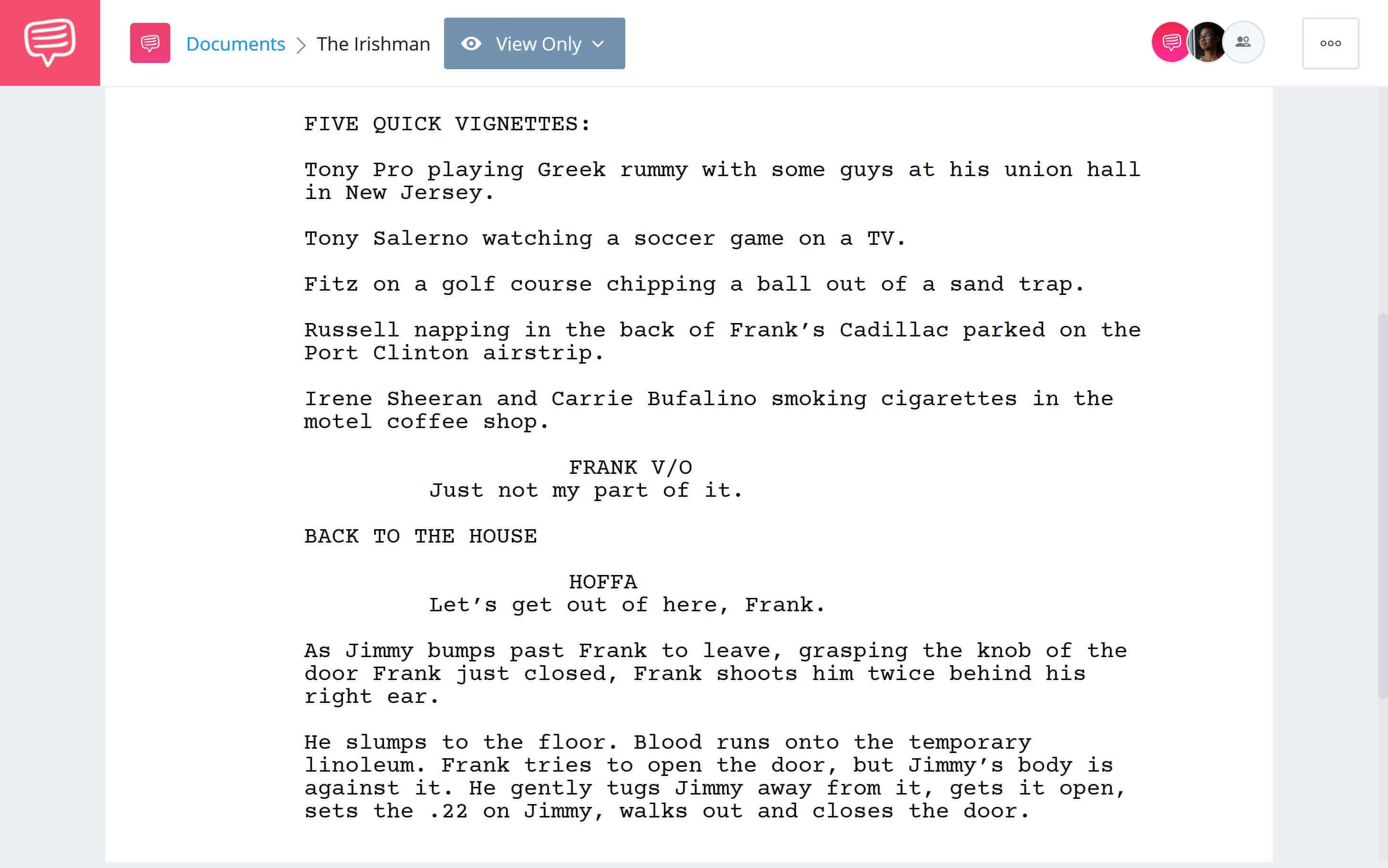 Is Irishman Based on a True Story - Shooting Hoffa Scene Download App Tie-In - StudioBinder