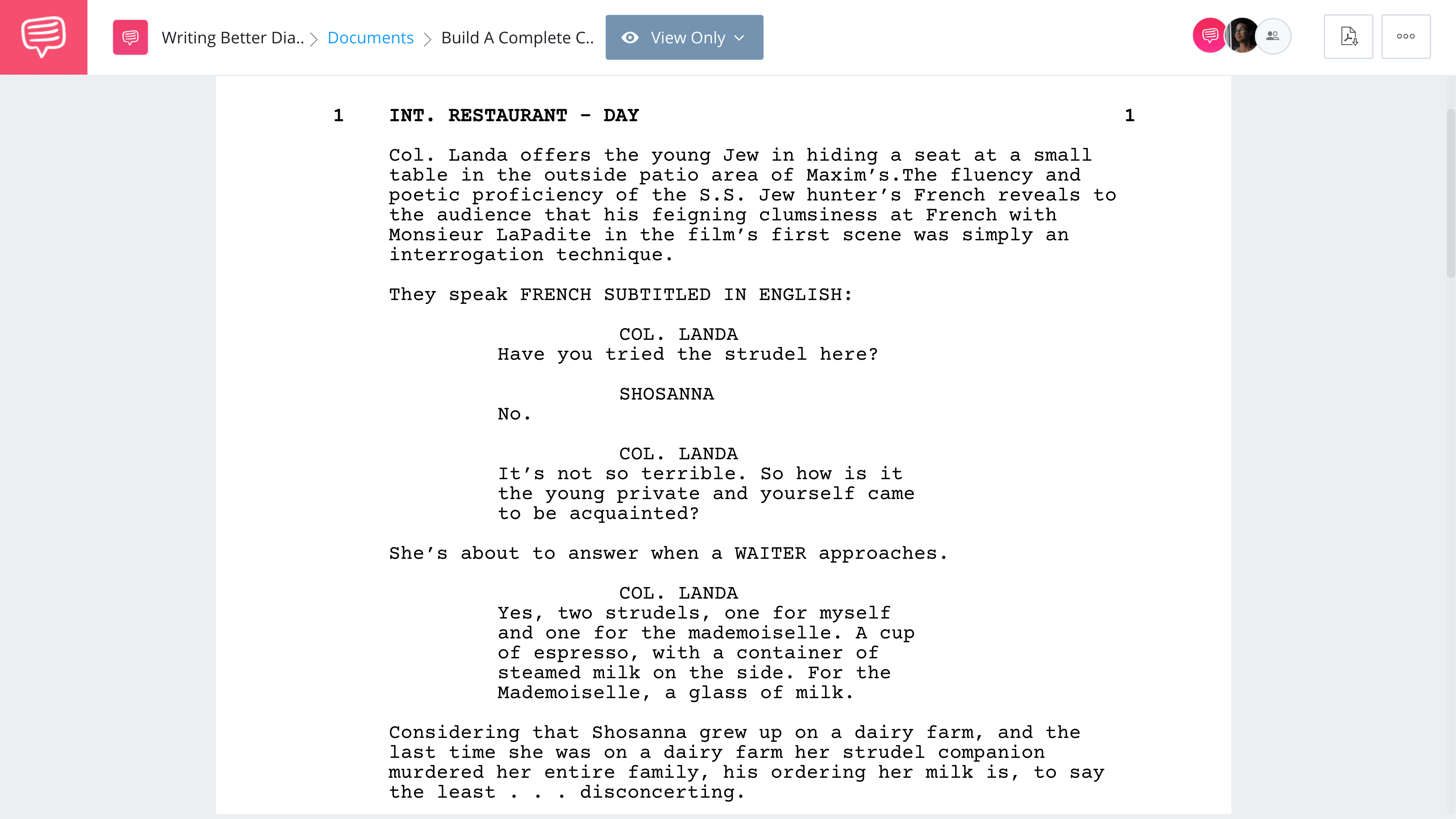 Screenwriting Tips for Better Movie Dialogue - Inglourious Basterds - Strudel Scene - StudioBinder Screenwriting Software